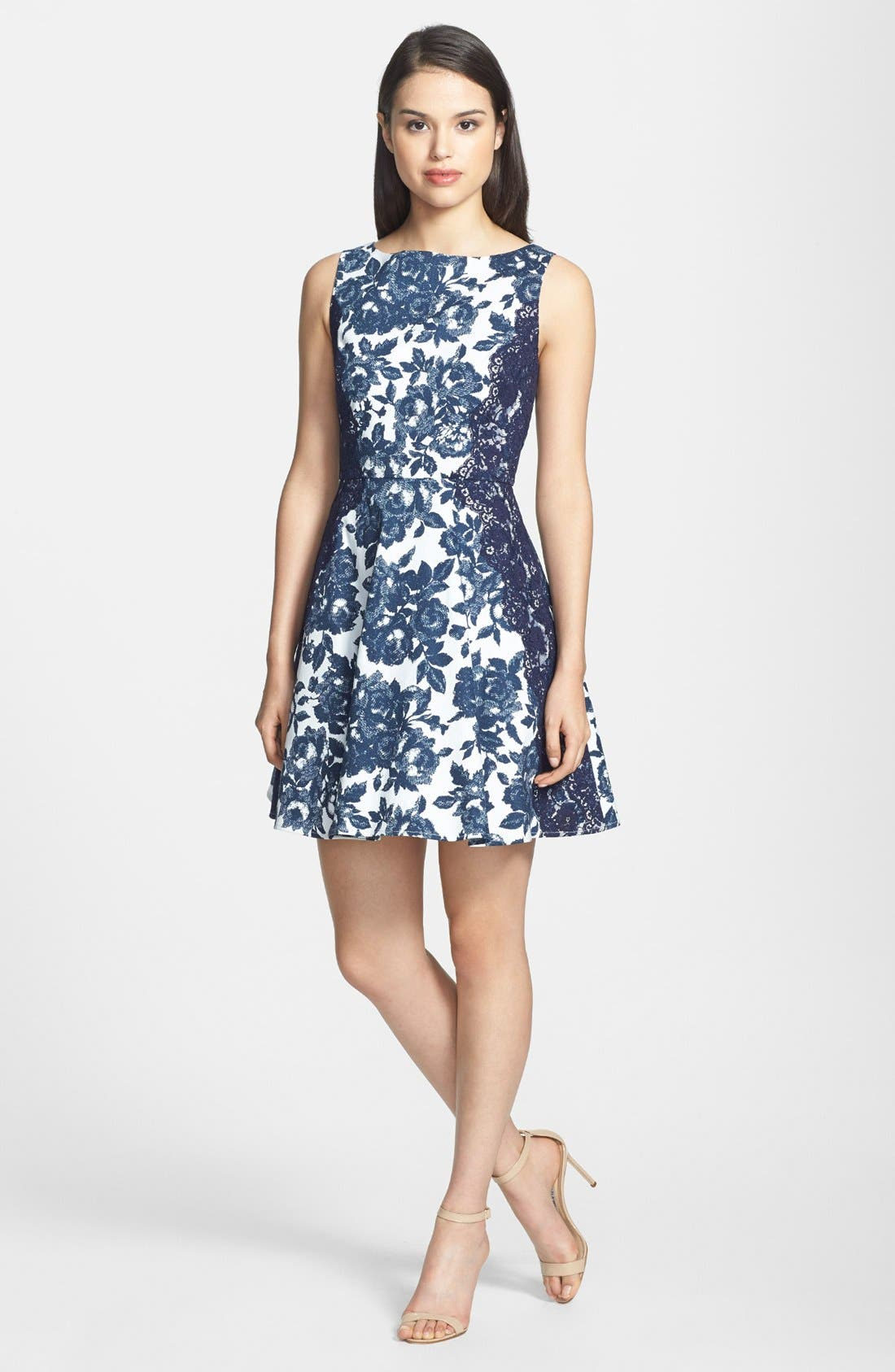 Alternate Image 2  - Jessica Simpson Floral Print Twill Fit & Flare Dress