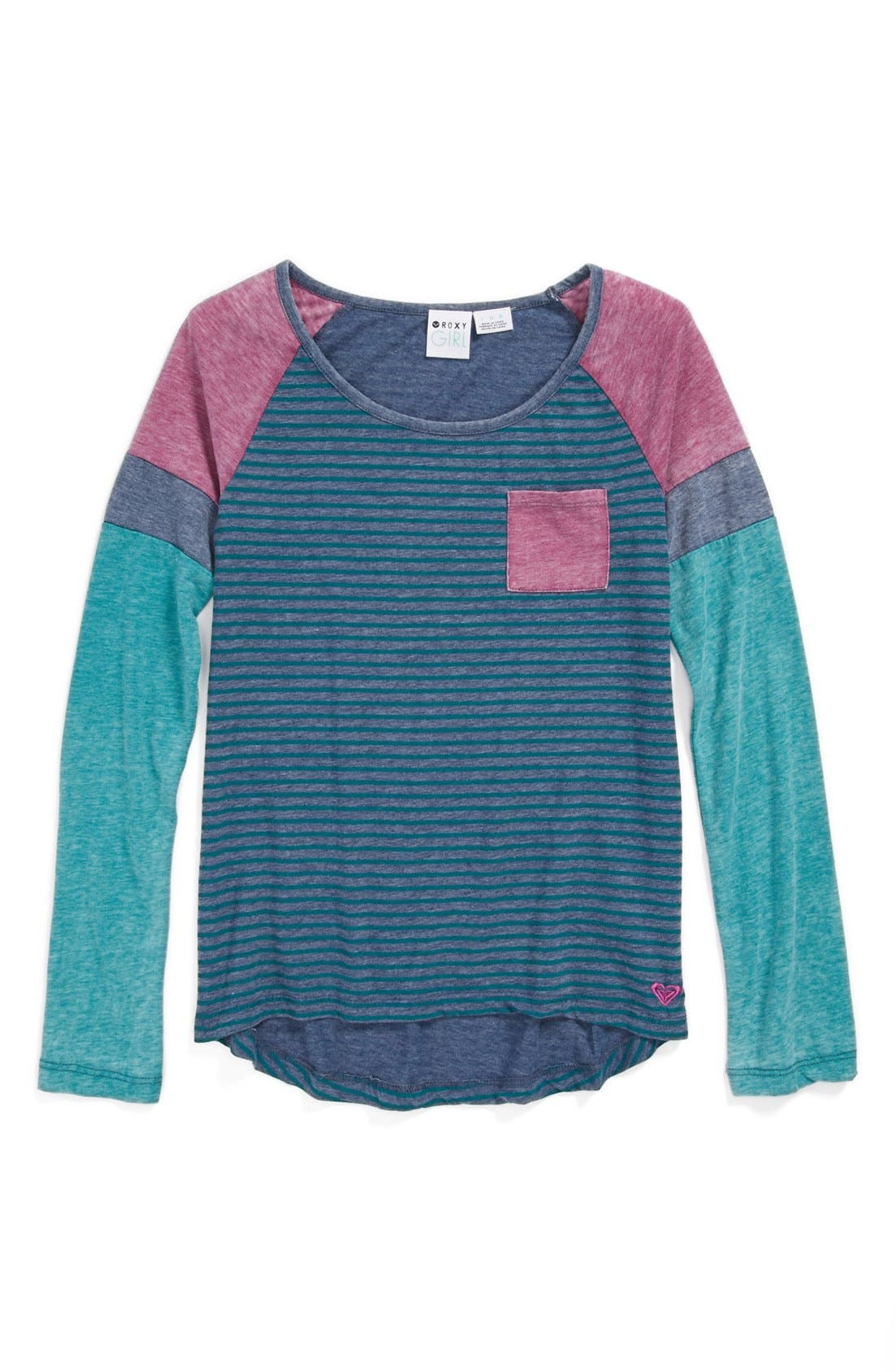 Main Image - Roxy 'Sandy Sunsets' Colorblock Tee (Toddler Girls)