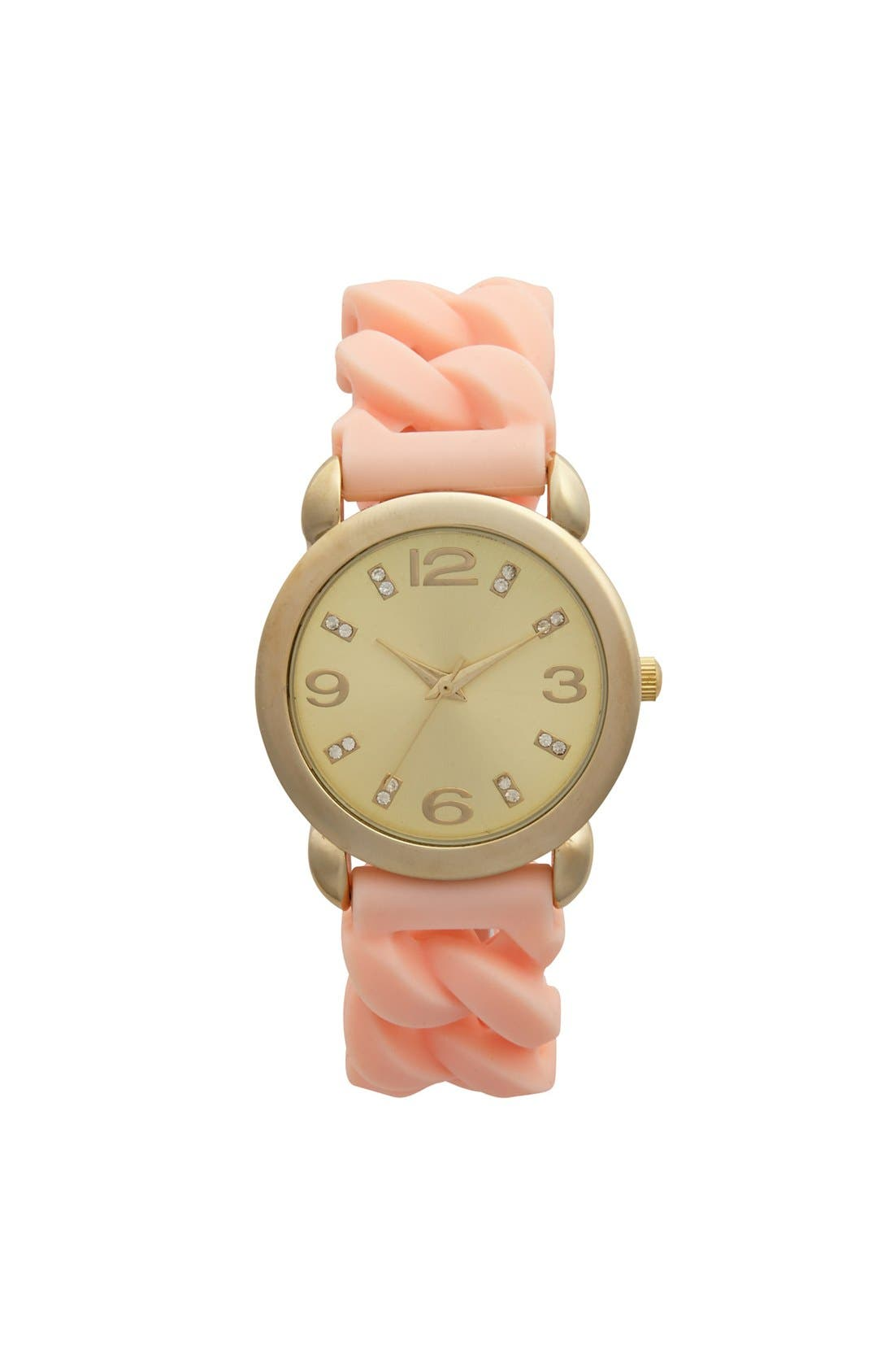 Alternate Image 1 Selected - Global Time Braided Silicone Strap Watch, 34mm (Juniors)