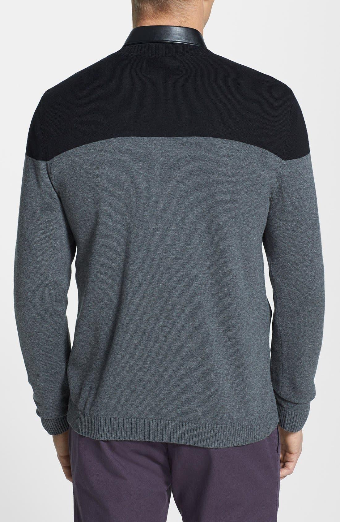 Alternate Image 2  - Topman Two-Tone Panel Crewneck Sweater
