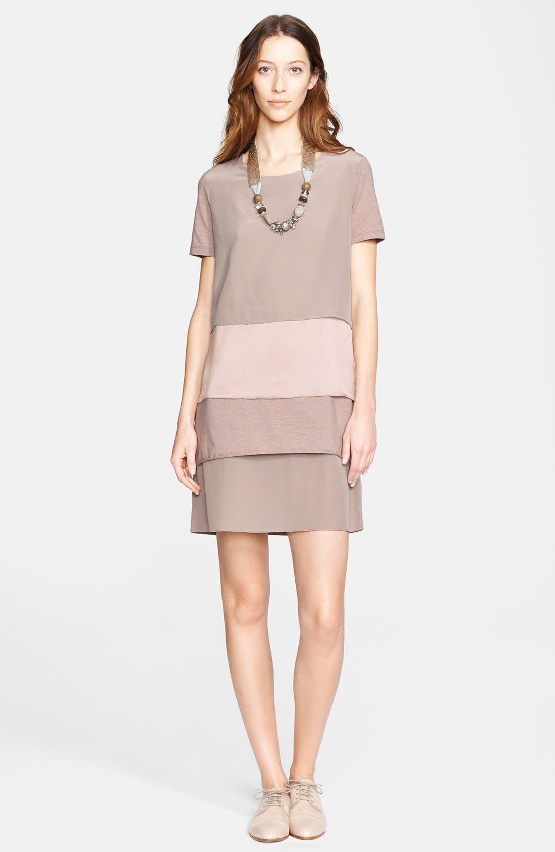 Main Image - Fabiana Filippi Tiered Jersey, Crepe & Charmeuse Dress