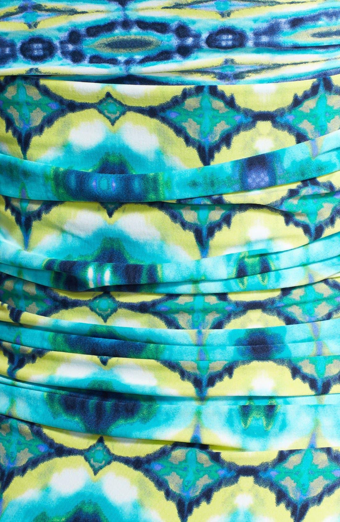 Alternate Image 3  - Carmen Marc Valvo 'African Sunset' Shirred Bandeau Maillot