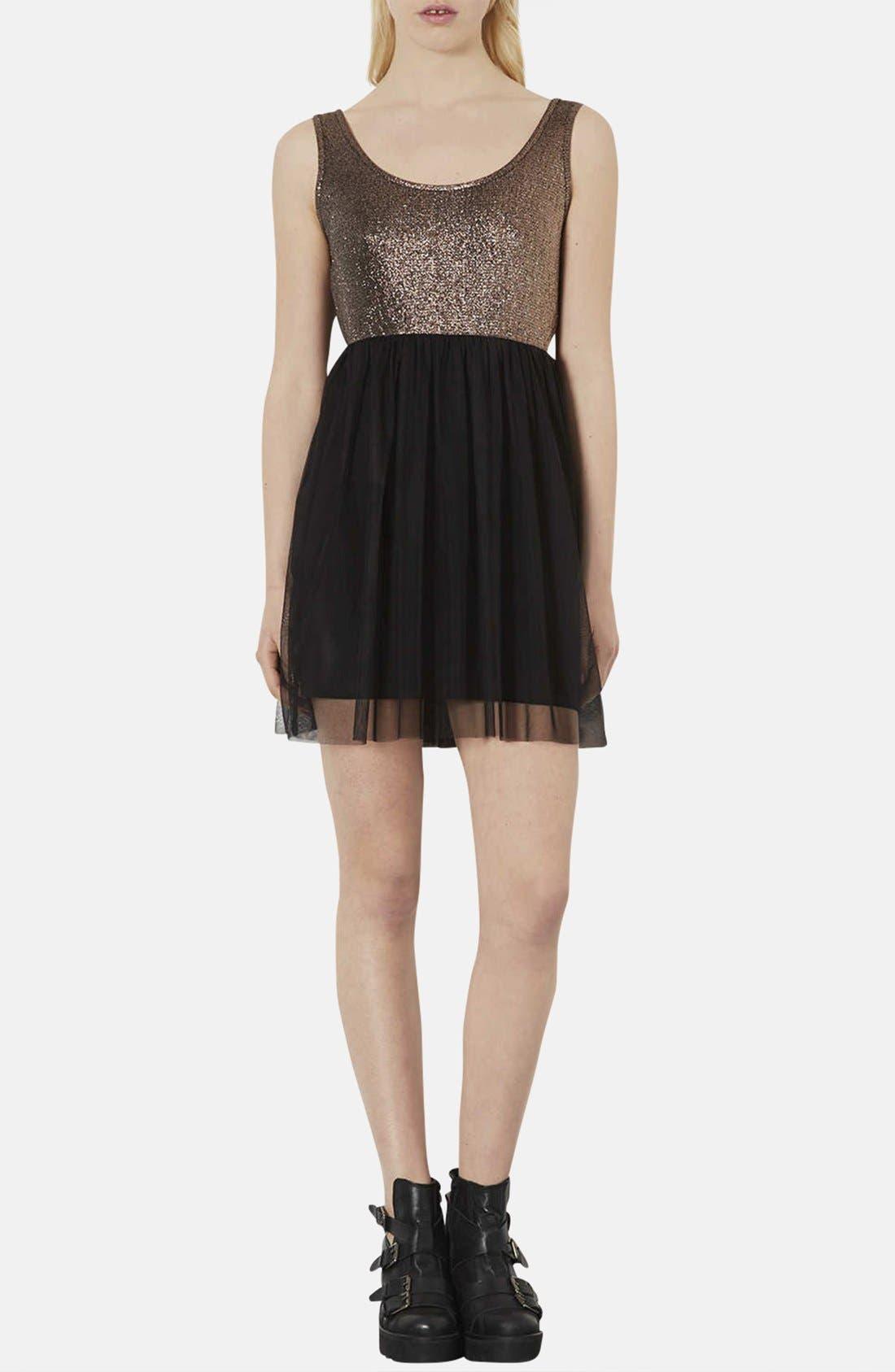 Main Image - Topshop Metallic Bodice Jersey & Tulle Dress (Petite)