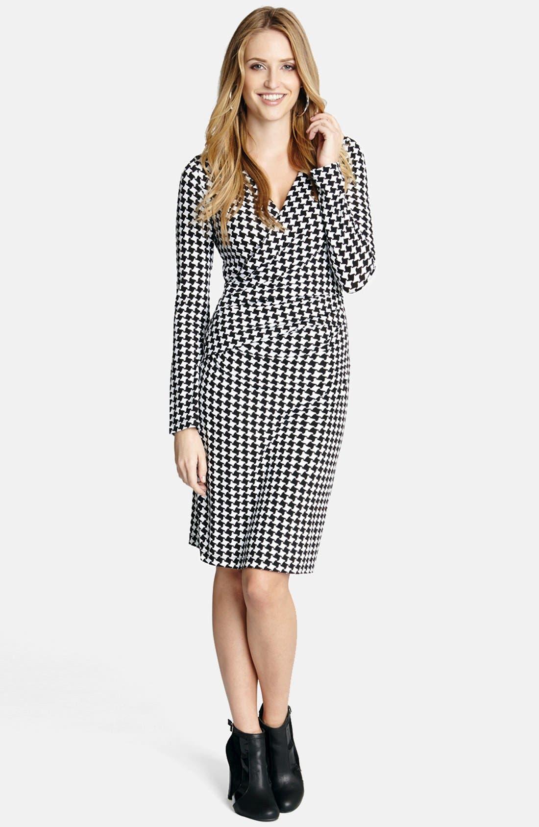 Alternate Image 1 Selected - Karen Kane 'Checkmate' Faux Wrap Dress