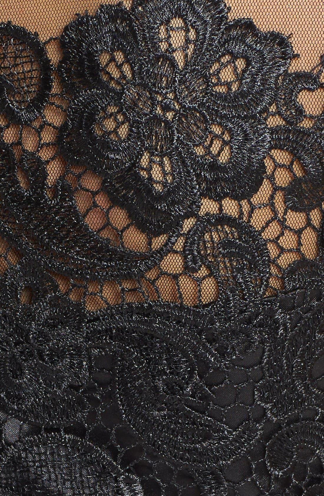 Alternate Image 4  - Mikael Aghal Bead Embellished Lace Illusion Dress