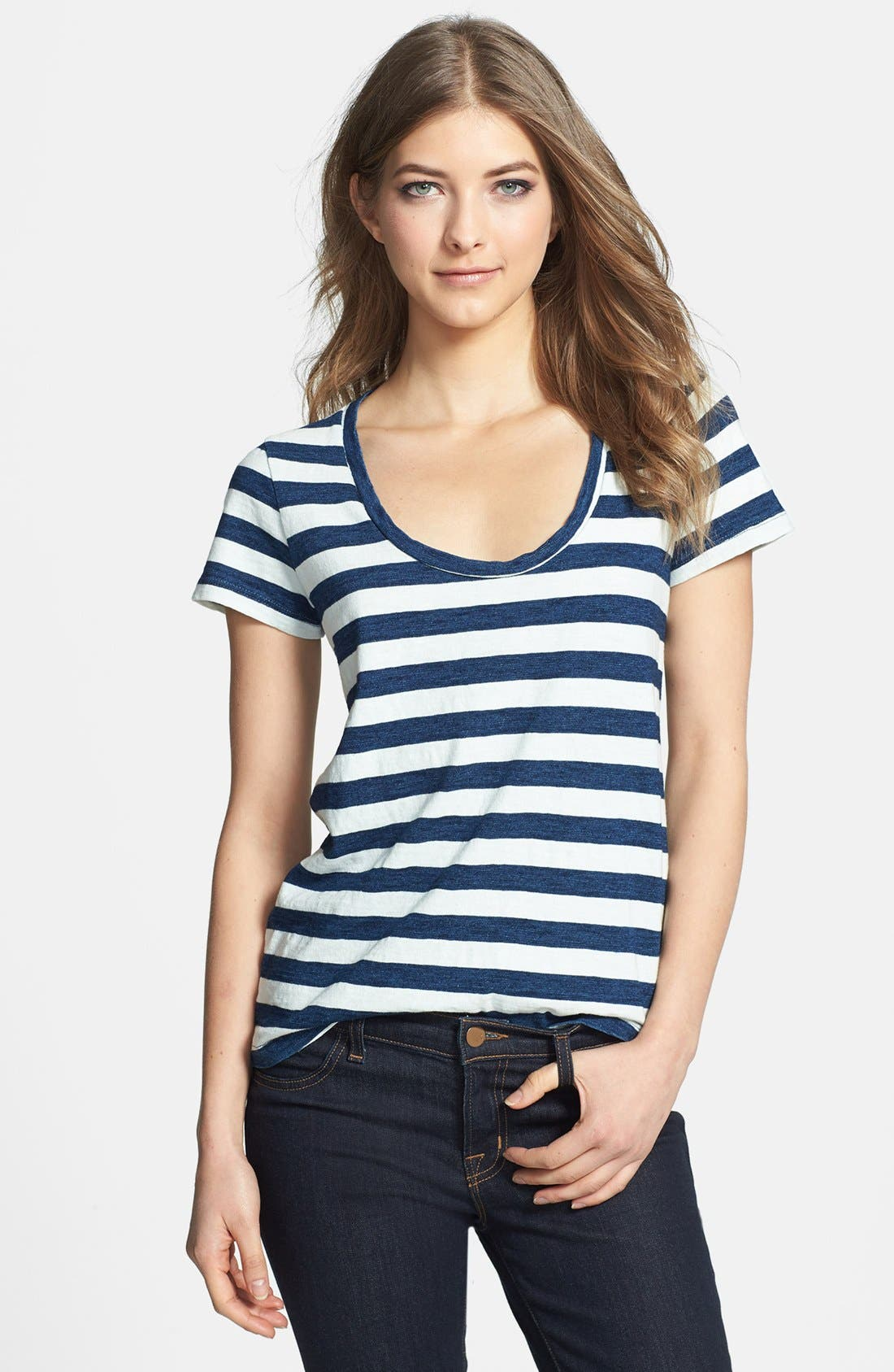 Main Image - Splendid Stripe Scoop Neck Cotton Tee