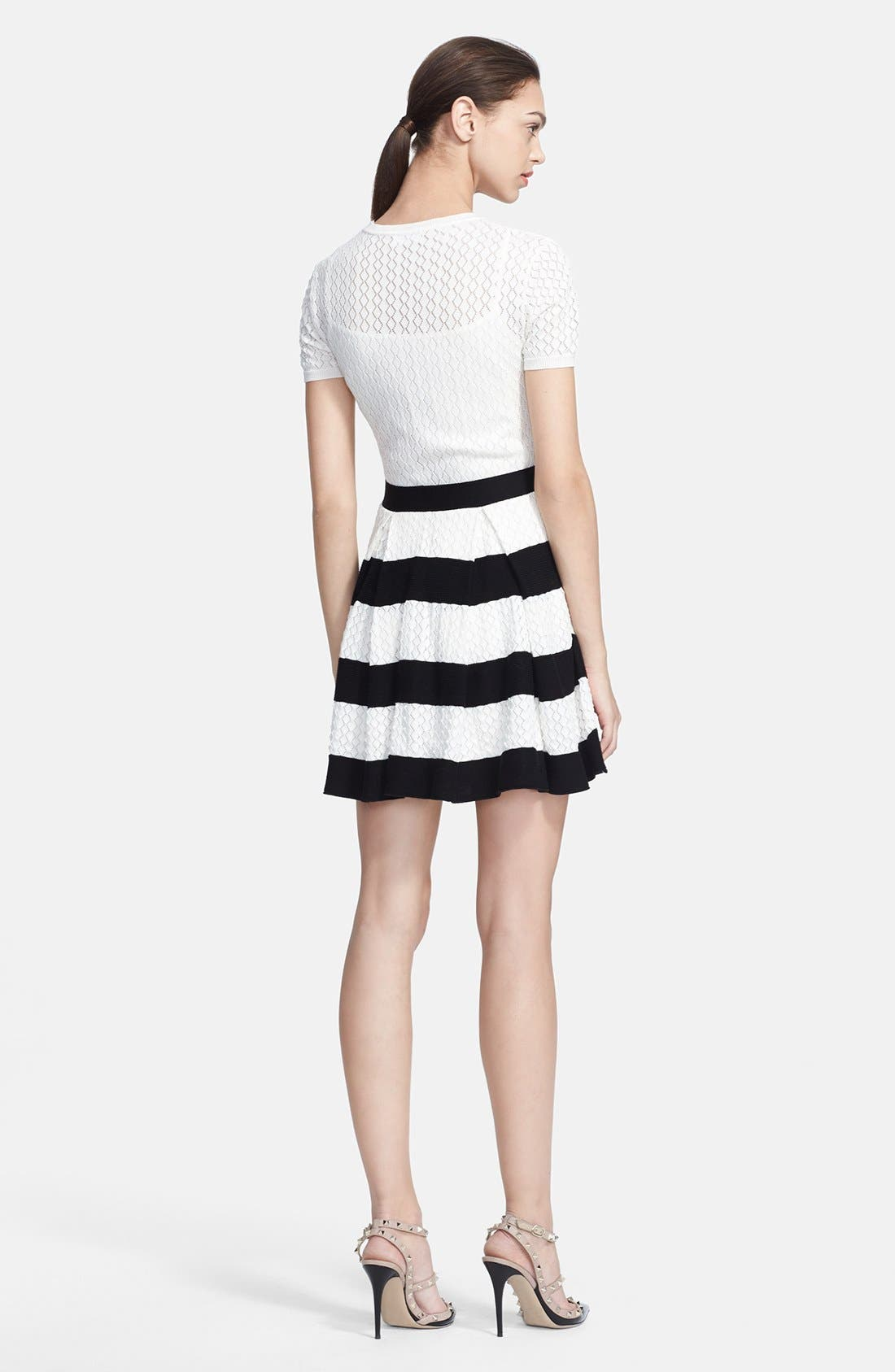 Alternate Image 2  - RED Valentino Stripe Skirt Knit Dress