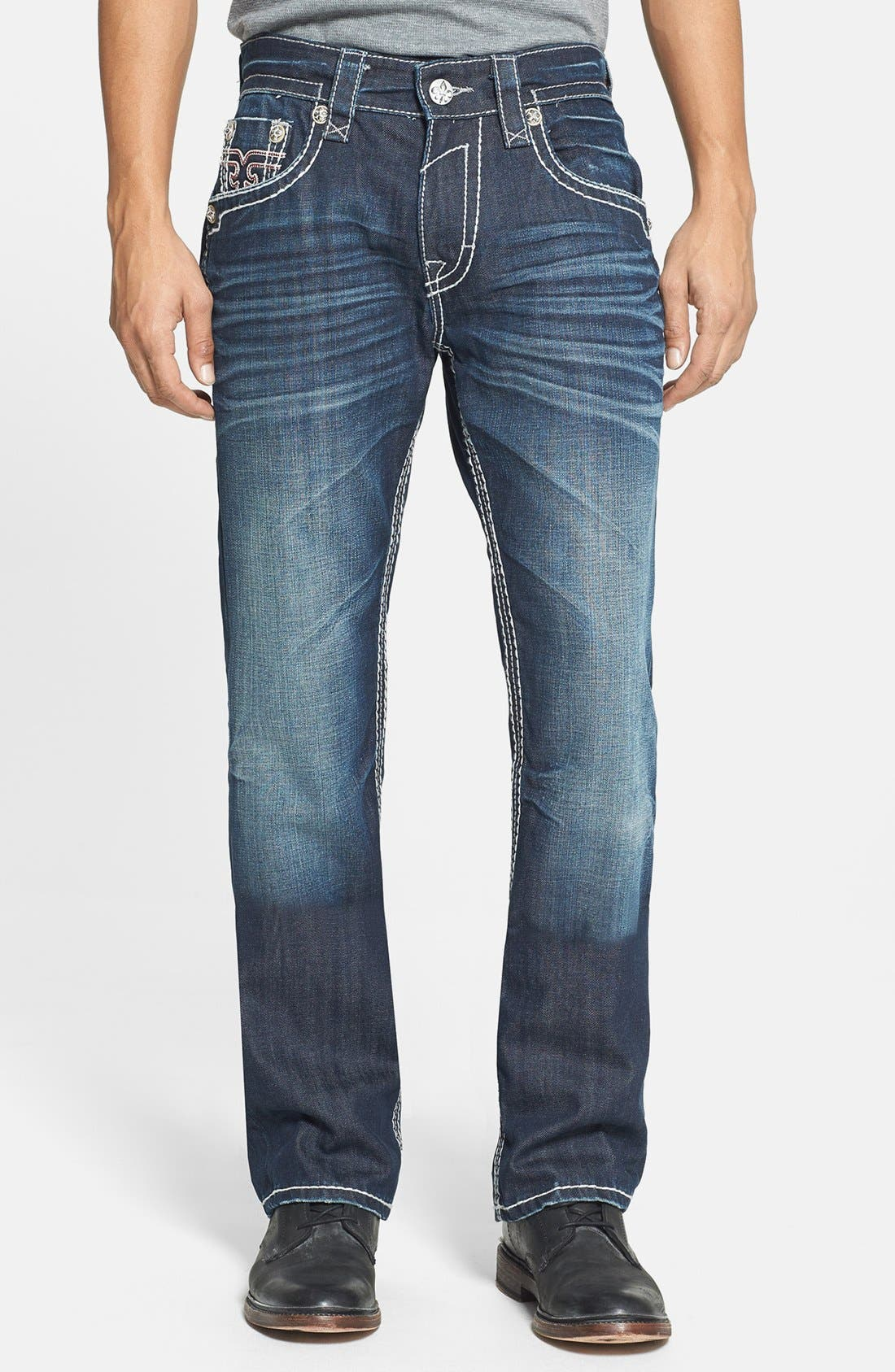 Alternate Image 2  - Rock Revival 'Grayson' Straight Leg Jeans (Dark Blue)