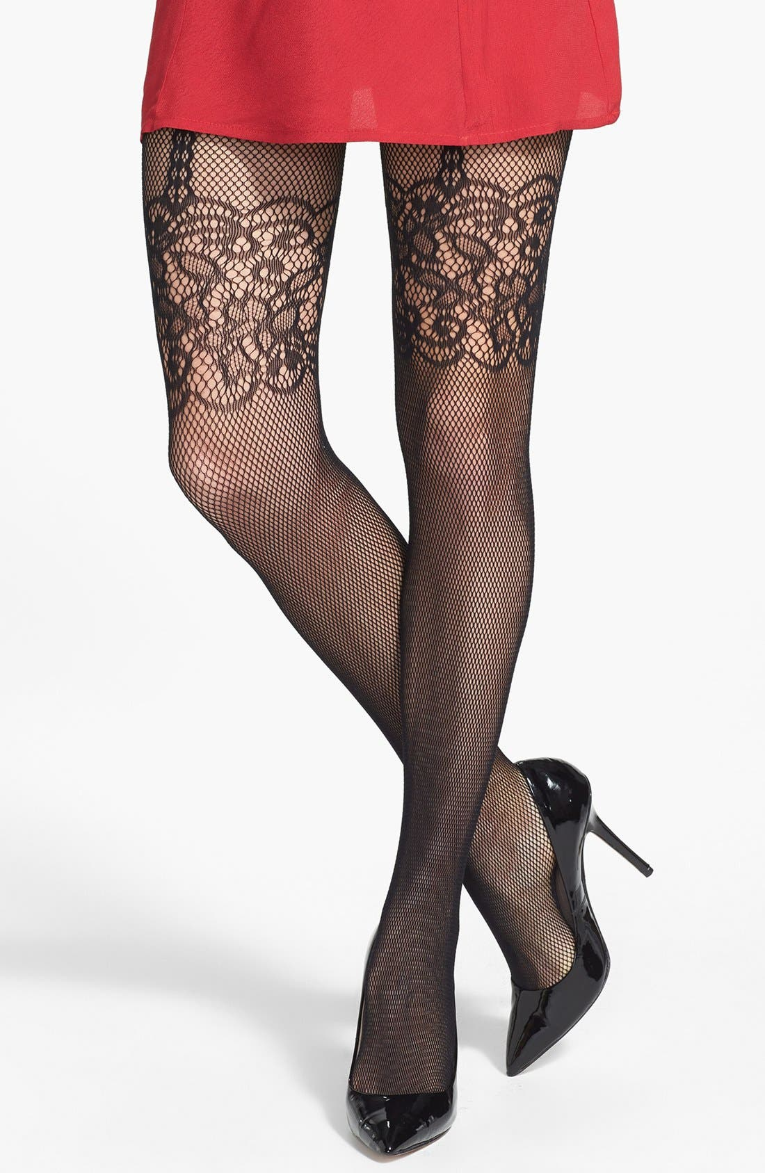 Main Image - Nordstrom Mesh Floral Tights