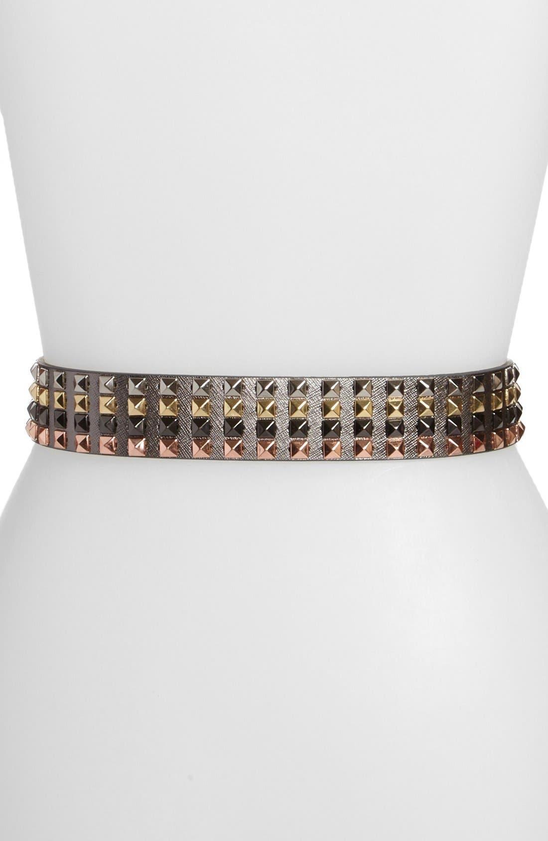 Alternate Image 2  - MICHAEL Michael Kors Pyramid Studded Metallic Saffiano Leather Belt