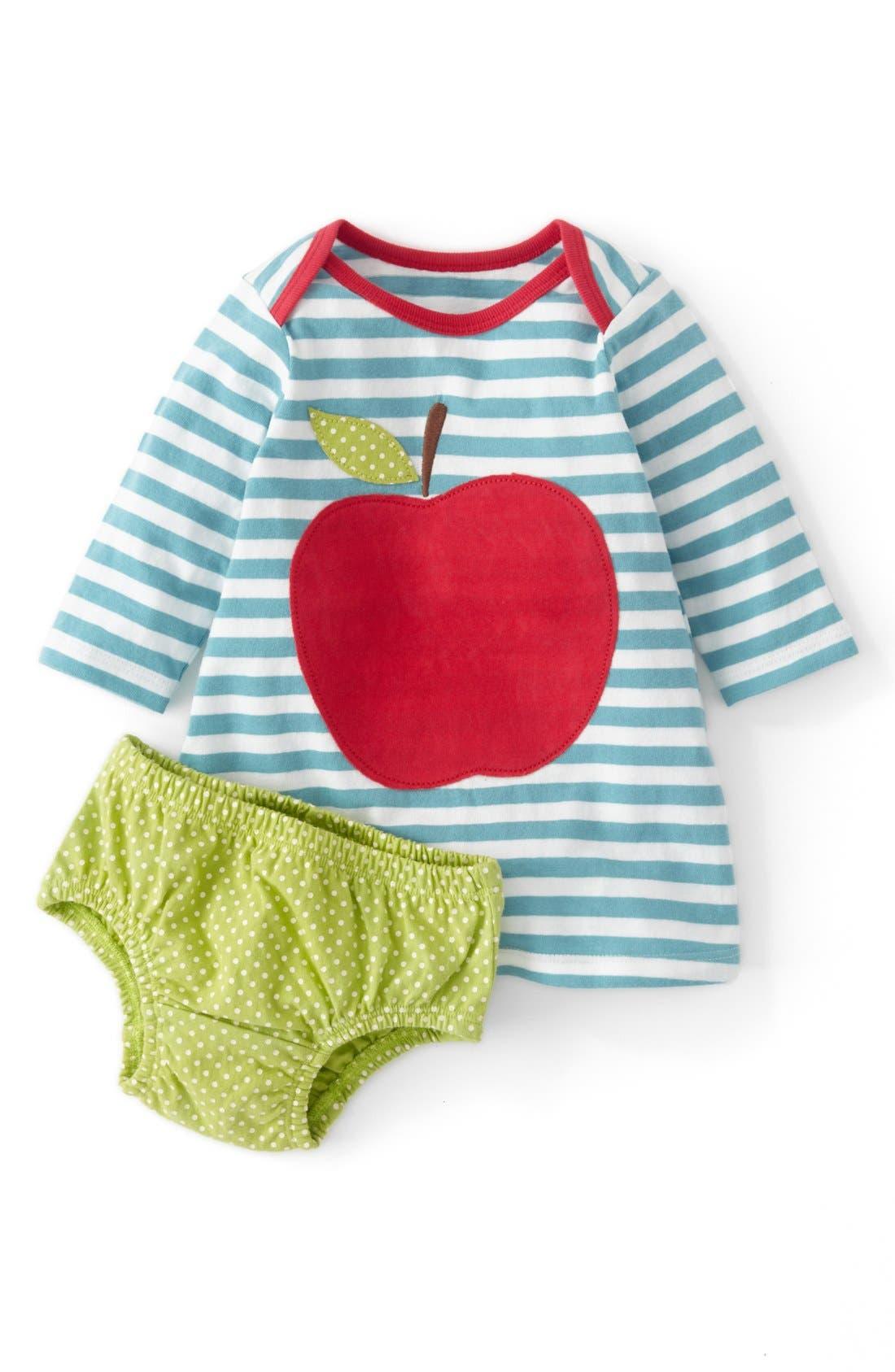 Main Image - Mini Boden Appliqué Stripe Jersey Dress (Baby Girls)