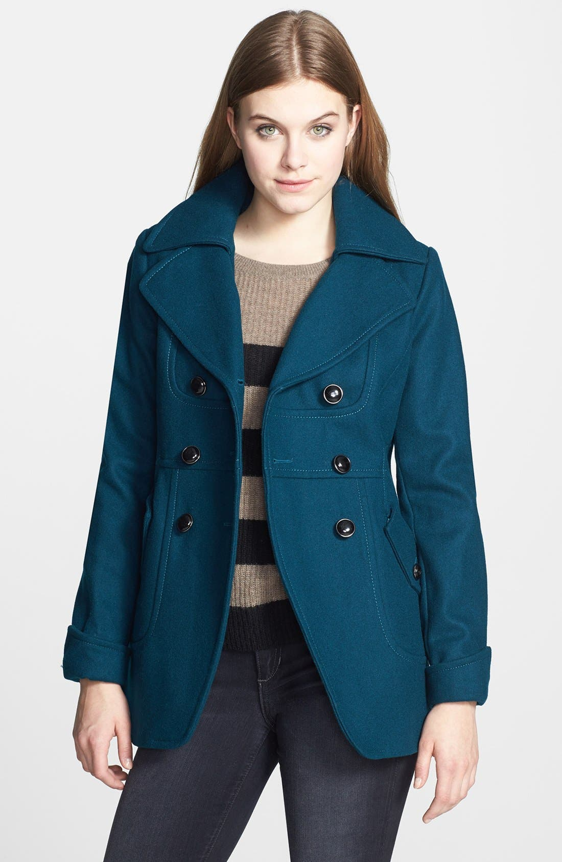 Alternate Image 1 Selected - GUESS Cutaway Front Double Breasted Wool Coat (Petite)