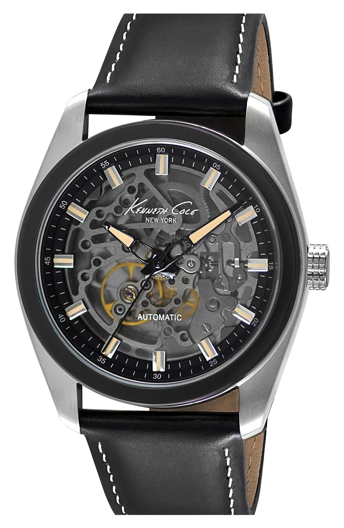 Main Image - Kenneth Cole New York Skeleton Automatic Leather Strap Watch, 44mm