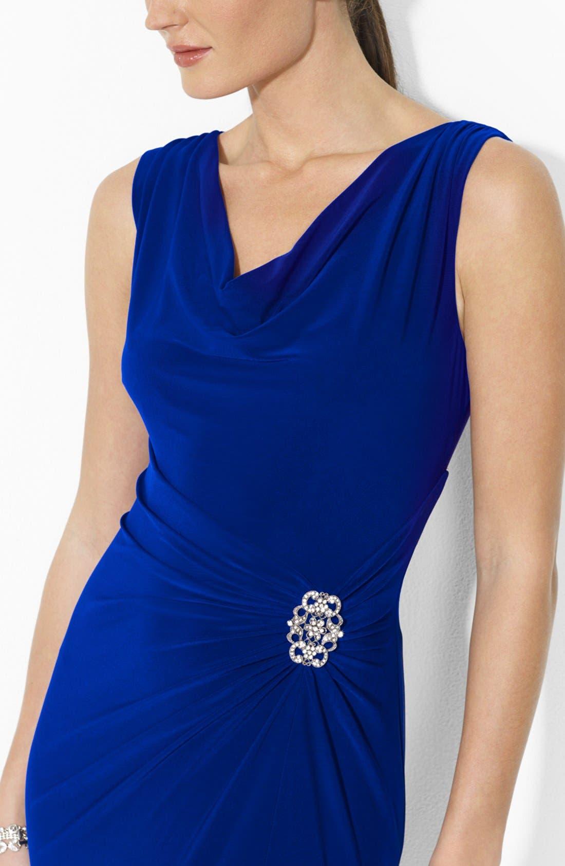 Alternate Image 3  - Lauren Ralph Lauren Sleeveless Stretch Jersey Cowl Neck Gown (Regular & Petite)