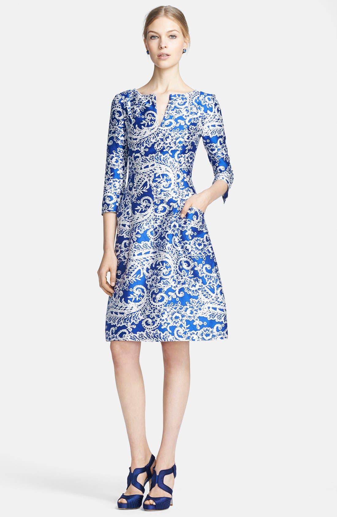 Alternate Image 1 Selected - Oscar de la Renta Print Silk & Cotton Dress