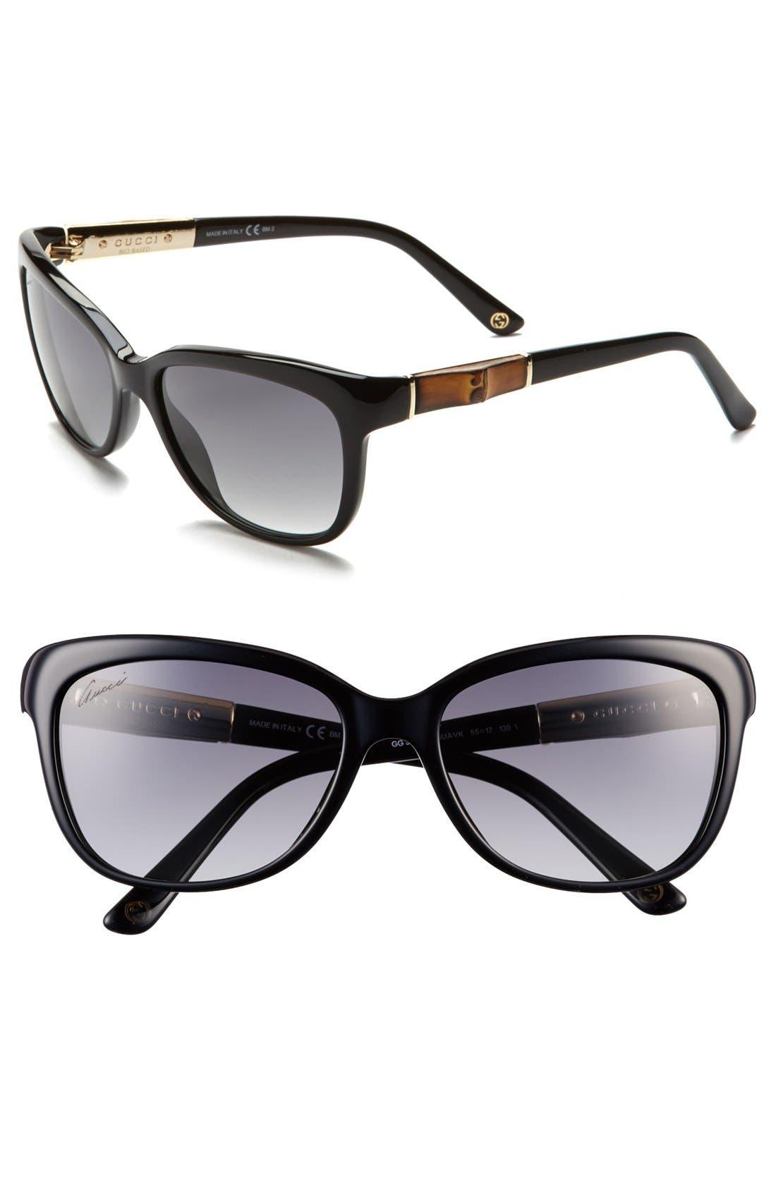 Main Image - Gucci 55mm Bamboo Temple Sunglasses