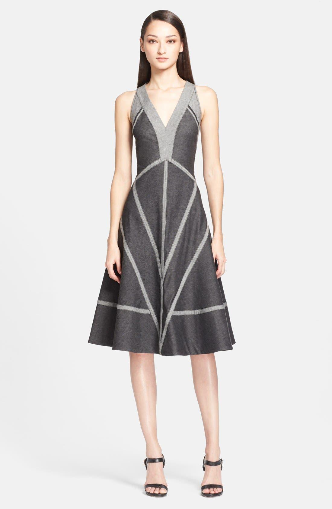 Main Image - Donna Karan New York Stretch Denim & Jersey Dress