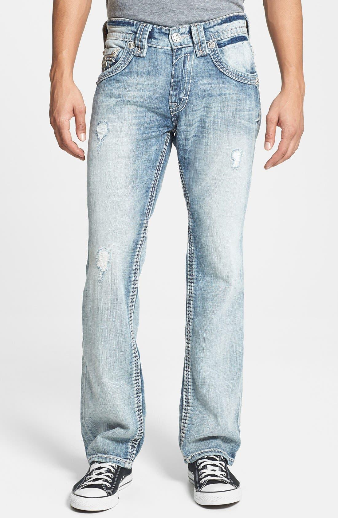 Alternate Image 2  - Rock Revival 'Romeo' Straight Leg Jeans (Light Blue)