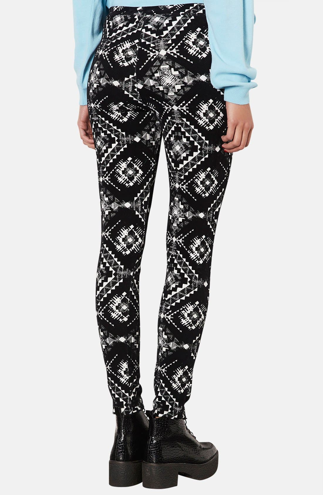 Alternate Image 2  - Topshop Flocked Folk Print Leggings