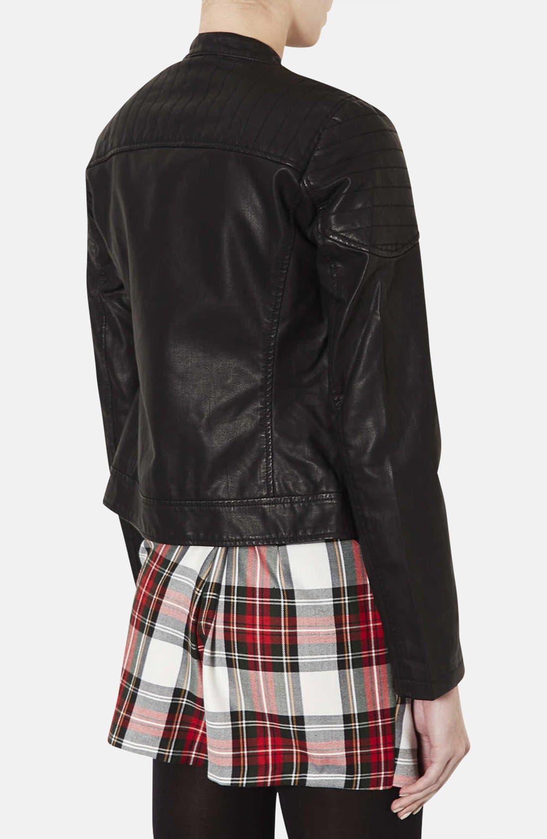 Alternate Image 2  - Topshop 'Cherrie' Faux Leather Biker Jacket