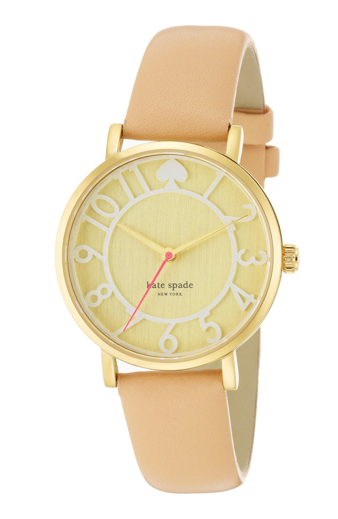 Alternate Image 4  - kate spade new york 'metro' round leather strap watch, 34mm