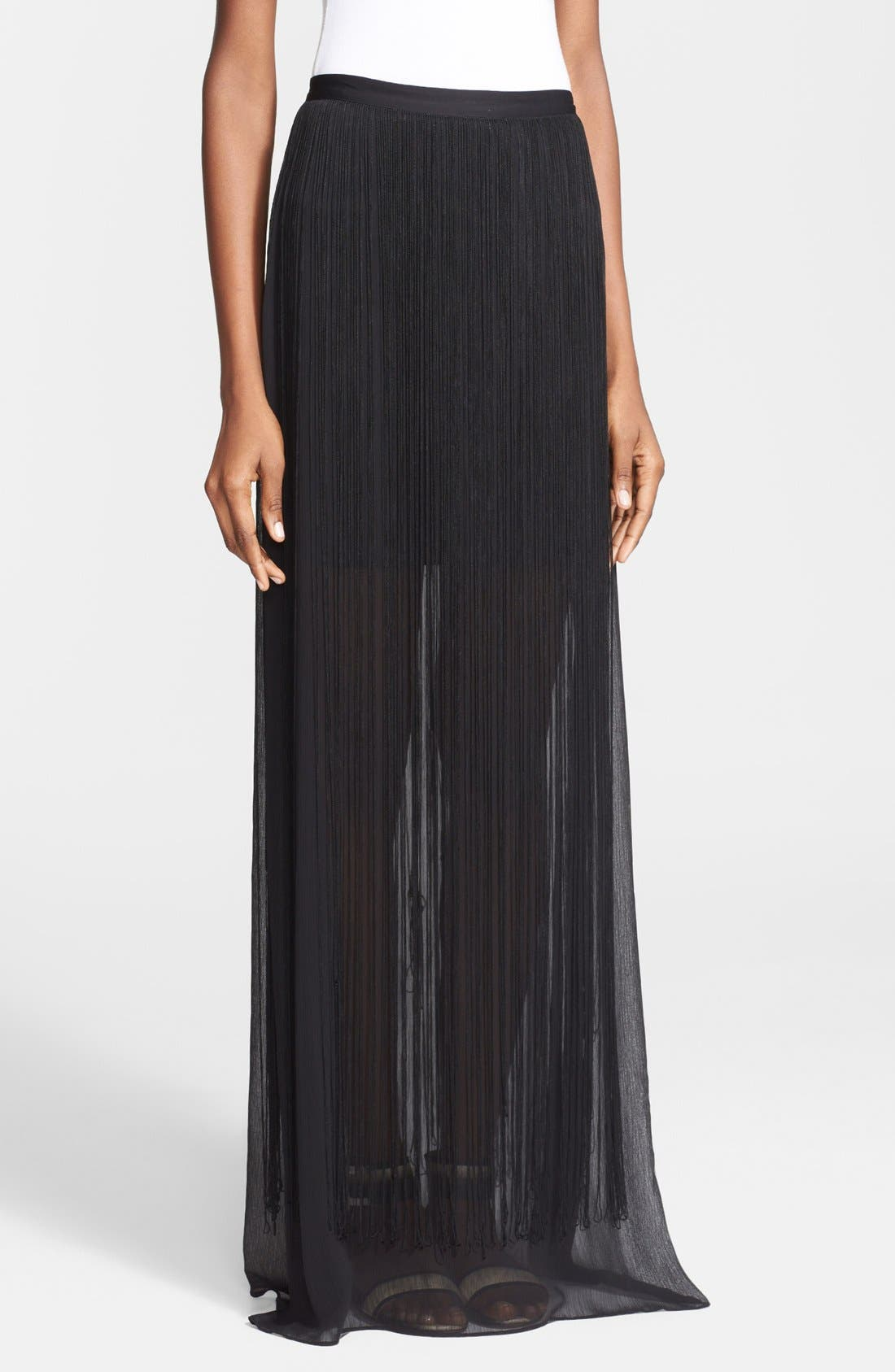 Alternate Image 1 Selected - Alice + Olivia 'Caitlin' Fringe Chiffon Maxi Skirt