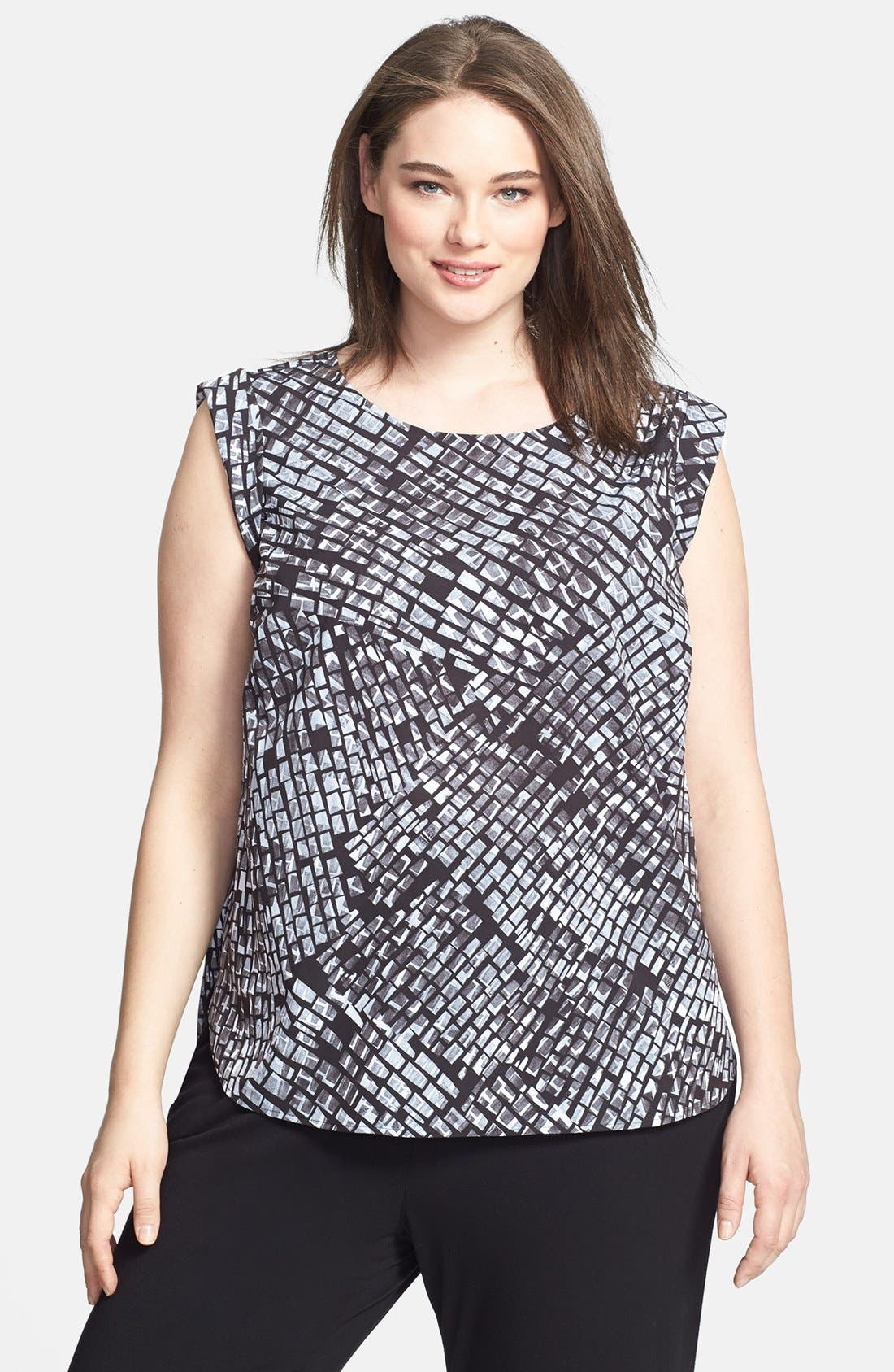 Main Image - Sejour Print High/Low Blouse (Plus Size)