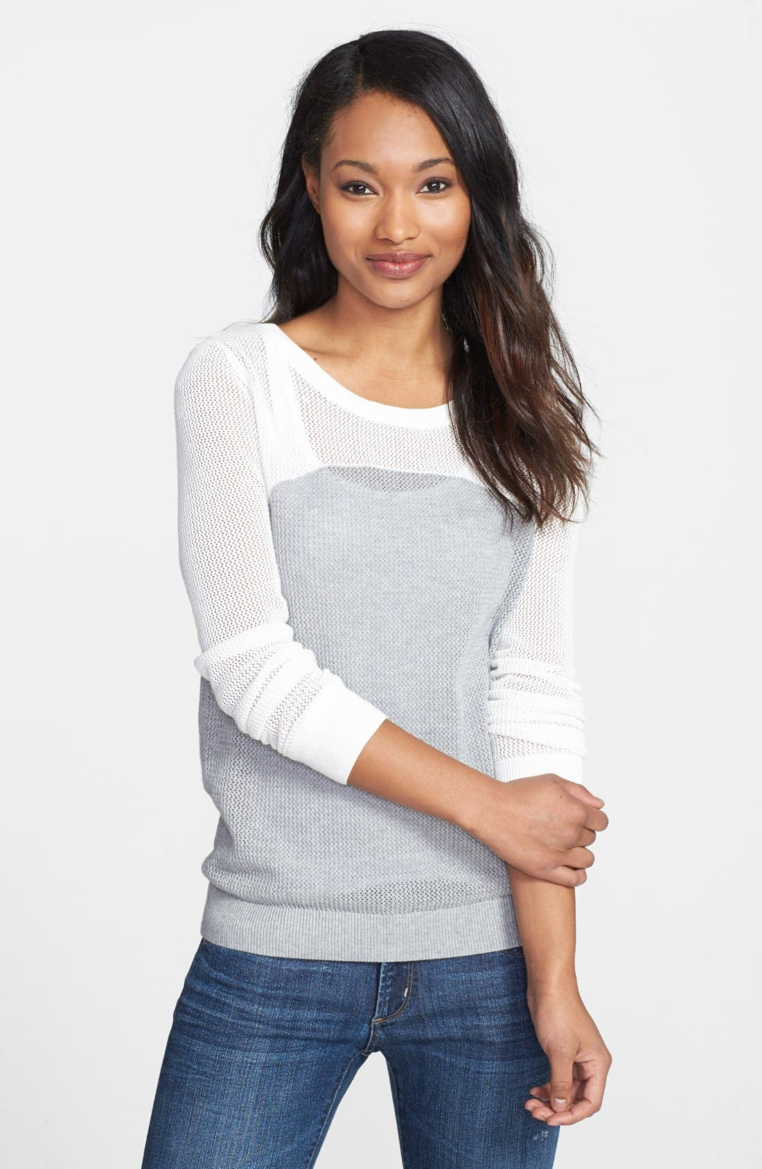 Alternate Image 1 Selected - Halogen® Colorblock Open Stitch Crewneck Top