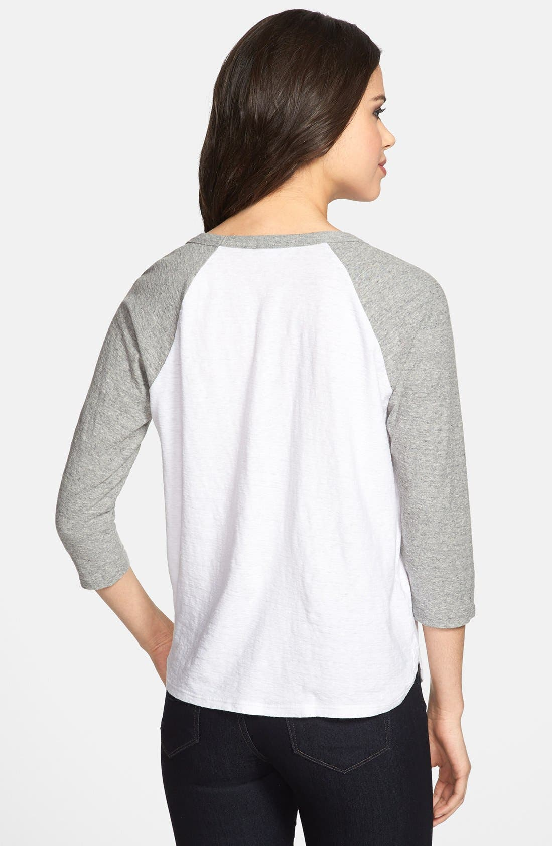 Alternate Image 2  - James Perse Curved Hem Baseball Tee
