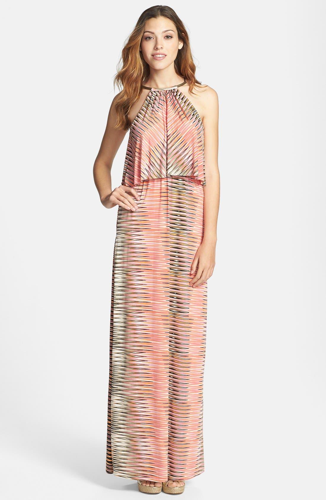 Main Image - Tbags Los Angeles Print Maxi Dress