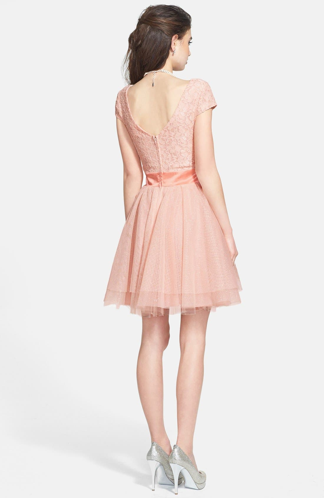 Alternate Image 2  - Trixxi Lace Bodice Tulle Fit & Flare Dress (Juniors)