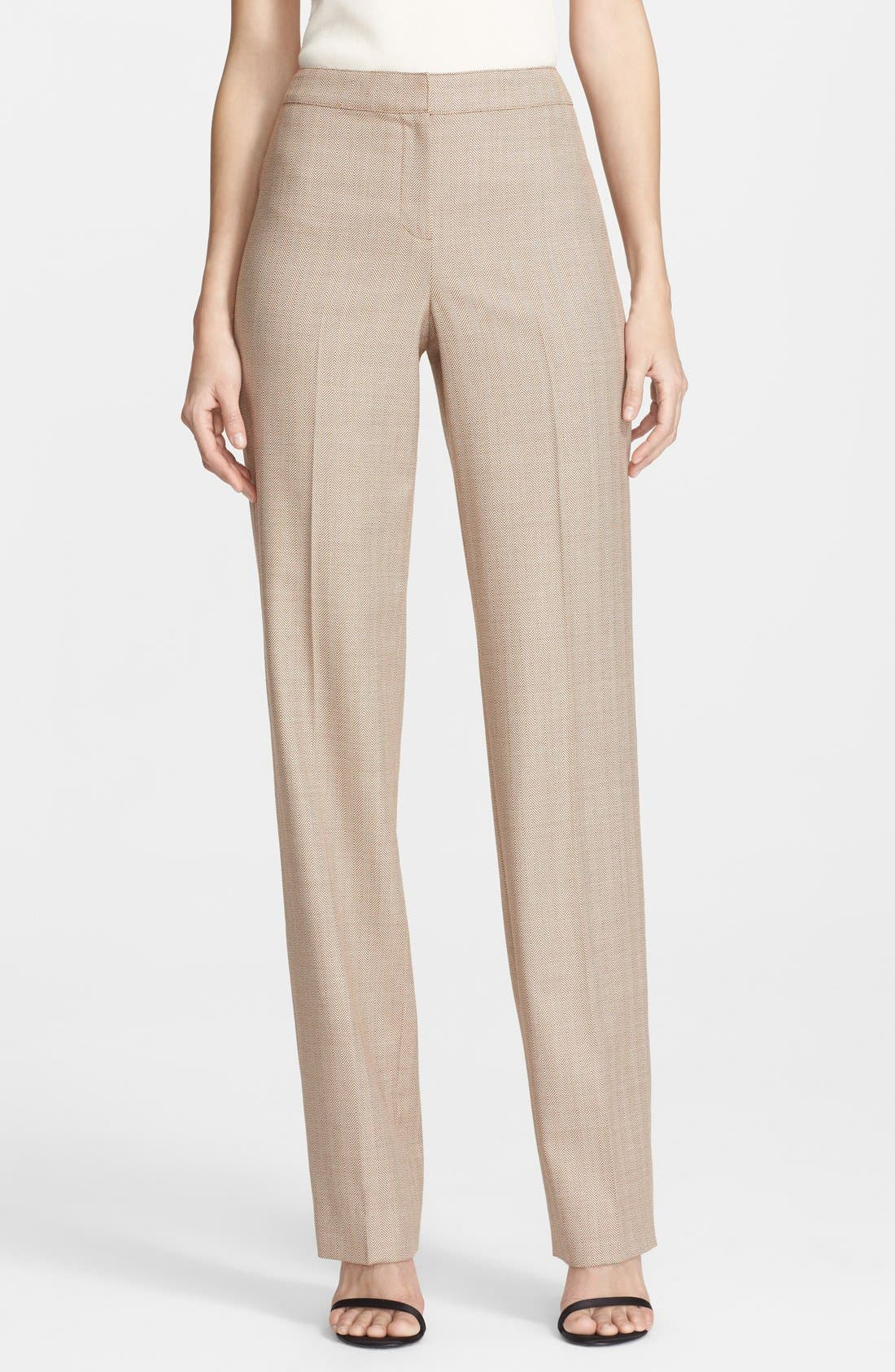 Alternate Image 1 Selected - St. John Collection 'Diana - Chevron Suiting' Straight Leg Pants