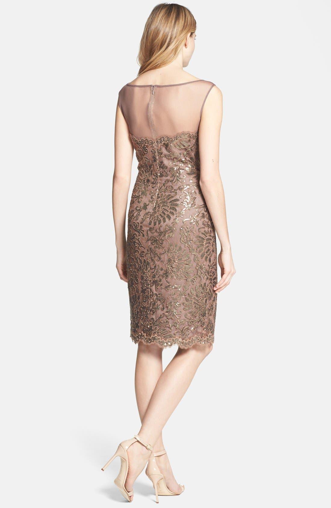 Alternate Image 2  - Tadashi Shoji Illusion Yoke Embellished Lace Sheath Dress