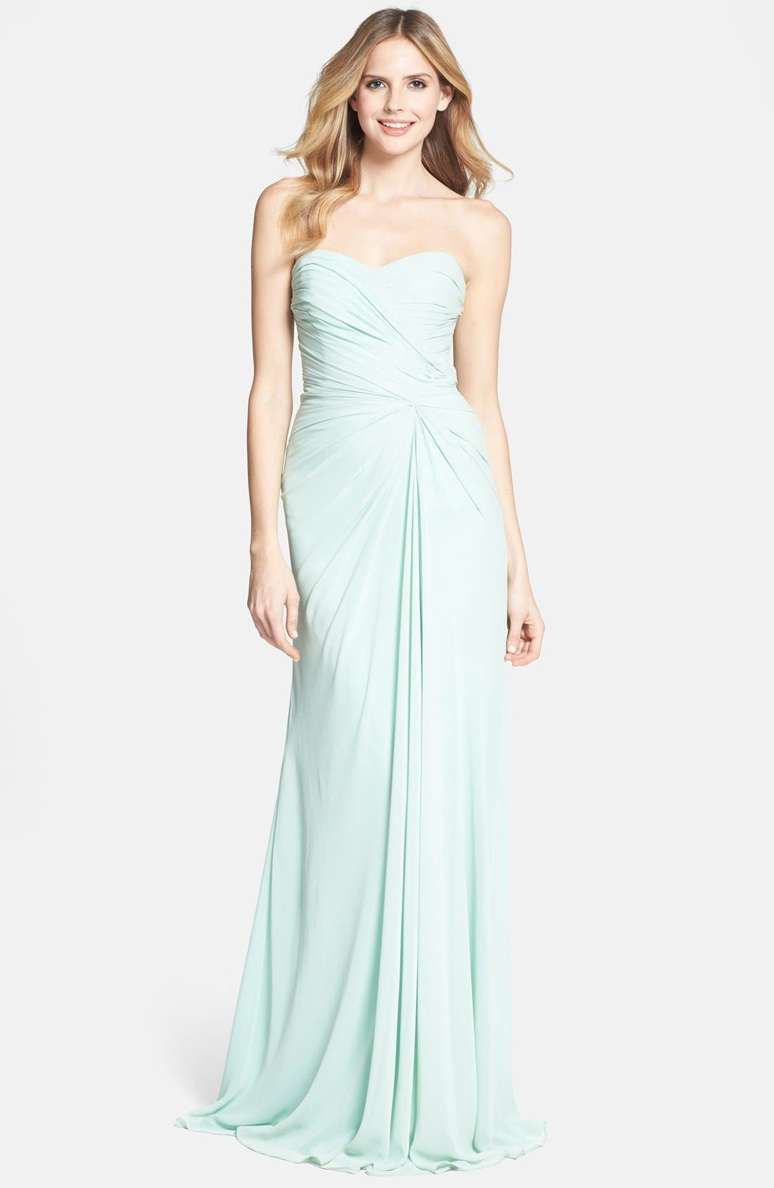 Alternate Image 1 Selected - Monique Lhuillier Bridesmaids Draped Chiffon Gown
