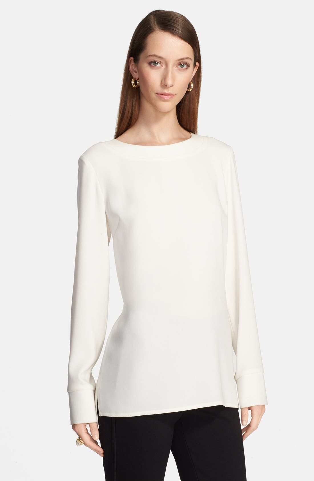 Alternate Image 1 Selected - St. John Collection Back Zip Crepe Blouse