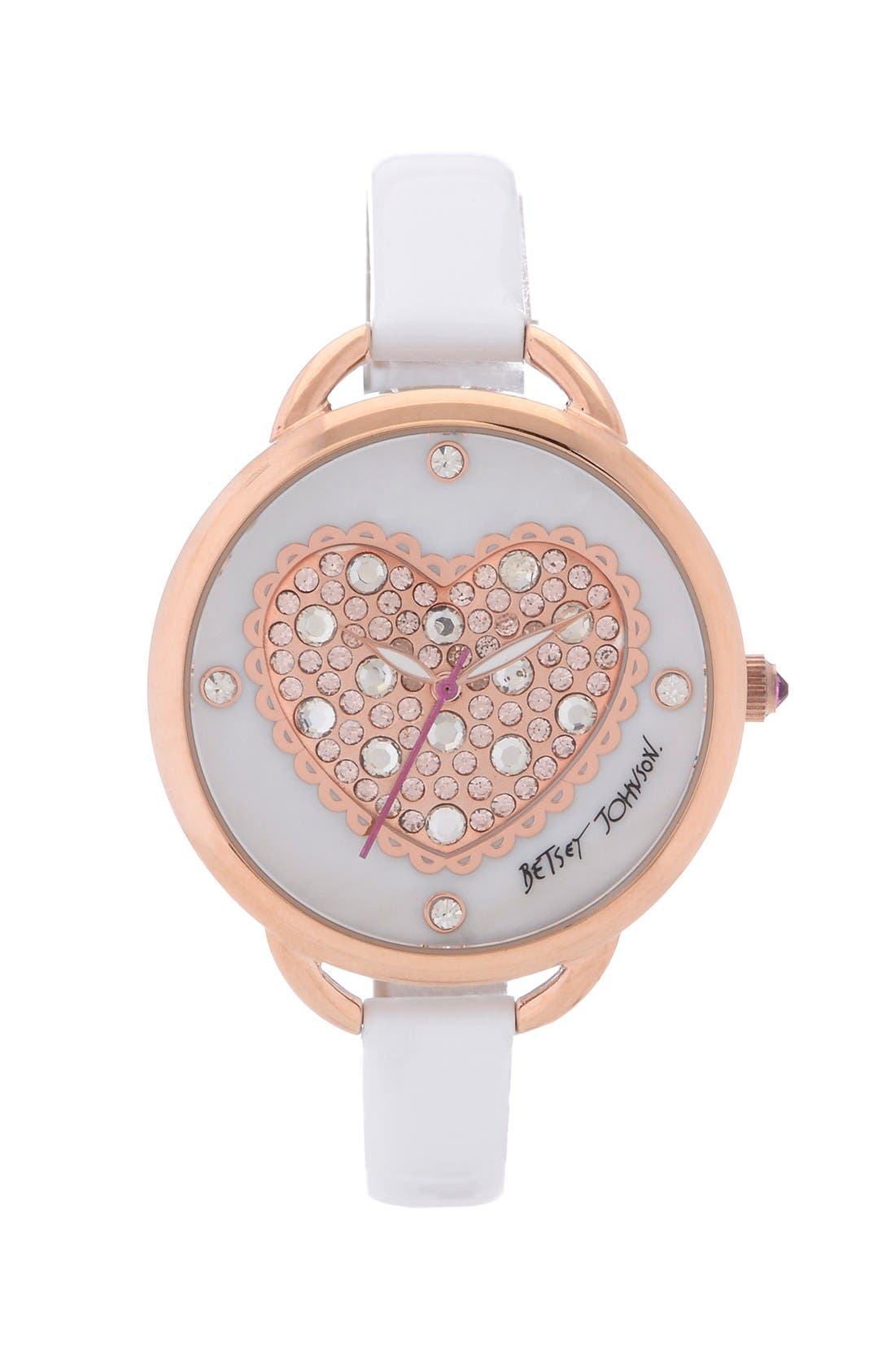 Main Image - Betsey Johnson Pavé Heart Dial Leather Strap Watch, 40mm
