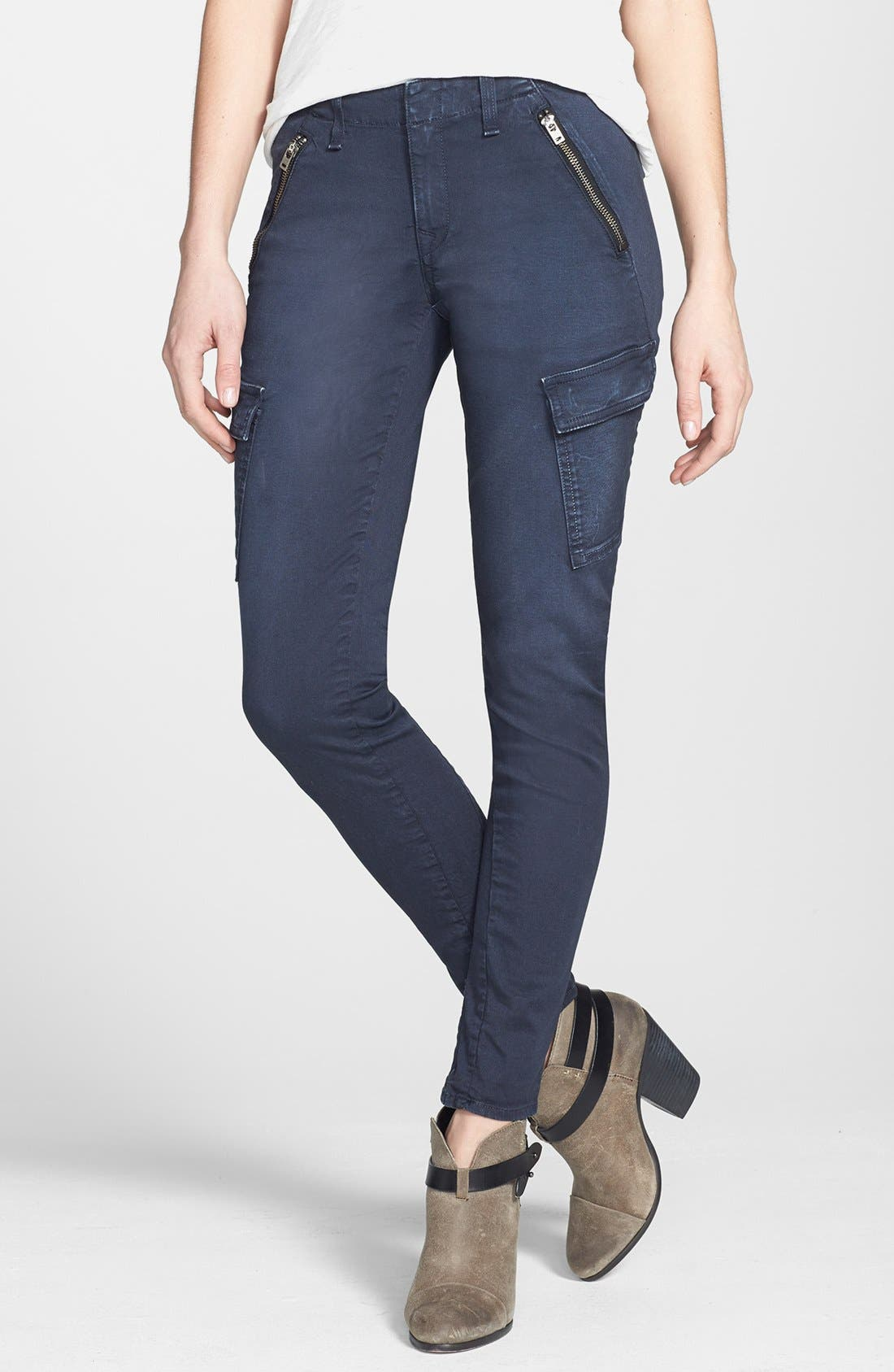 Main Image - rag & bone/JEAN 'Bowery' Cargo Skinny Jeans (Distressed Navy)