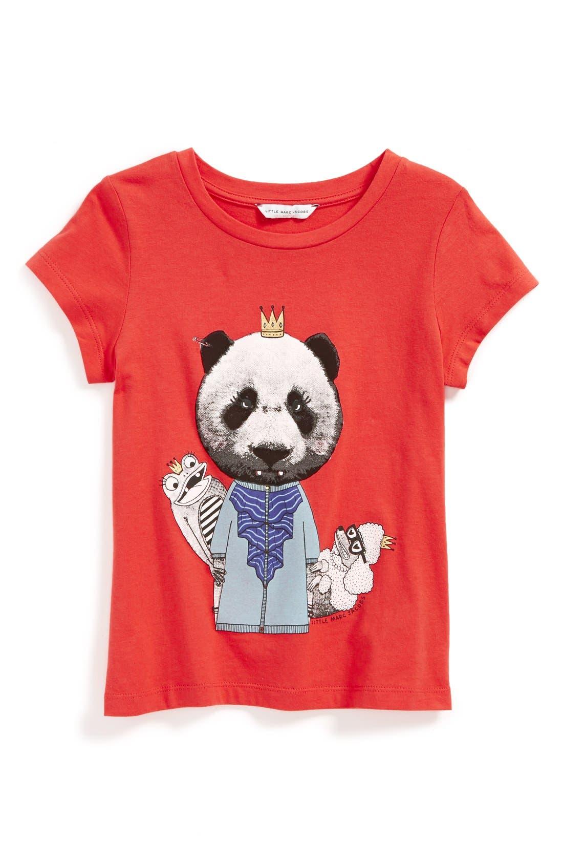 Main Image - LITTLE MARC JACOBS 'Panda' Cotton & Modal Tee (Little Girls & Big Girls)