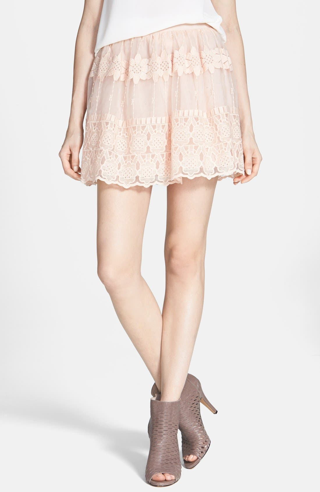 Alternate Image 1 Selected - ASTR Embroidered Organza Skirt