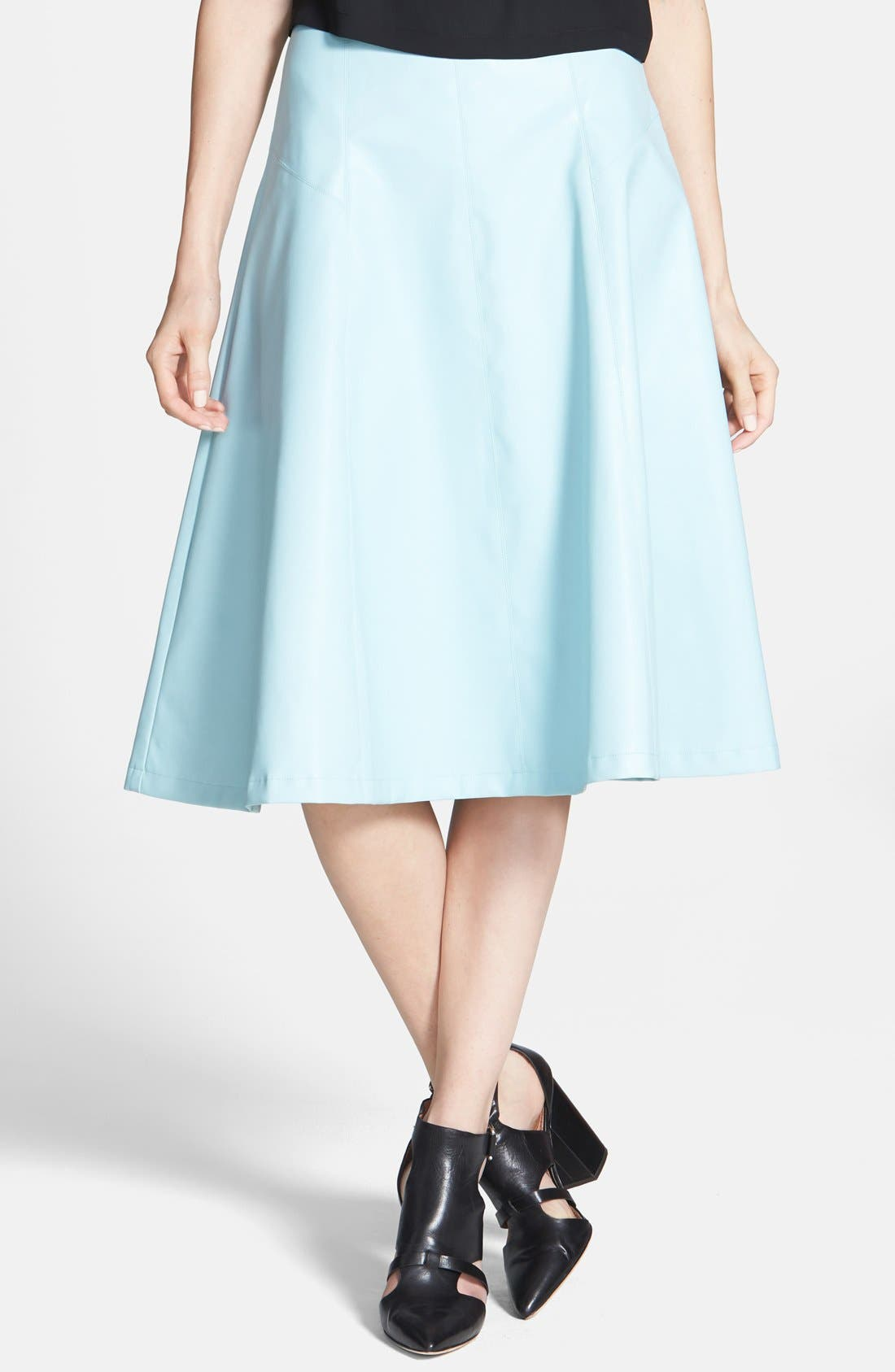 Main Image - ASTR Faux Leather A-Line Midi Skirt