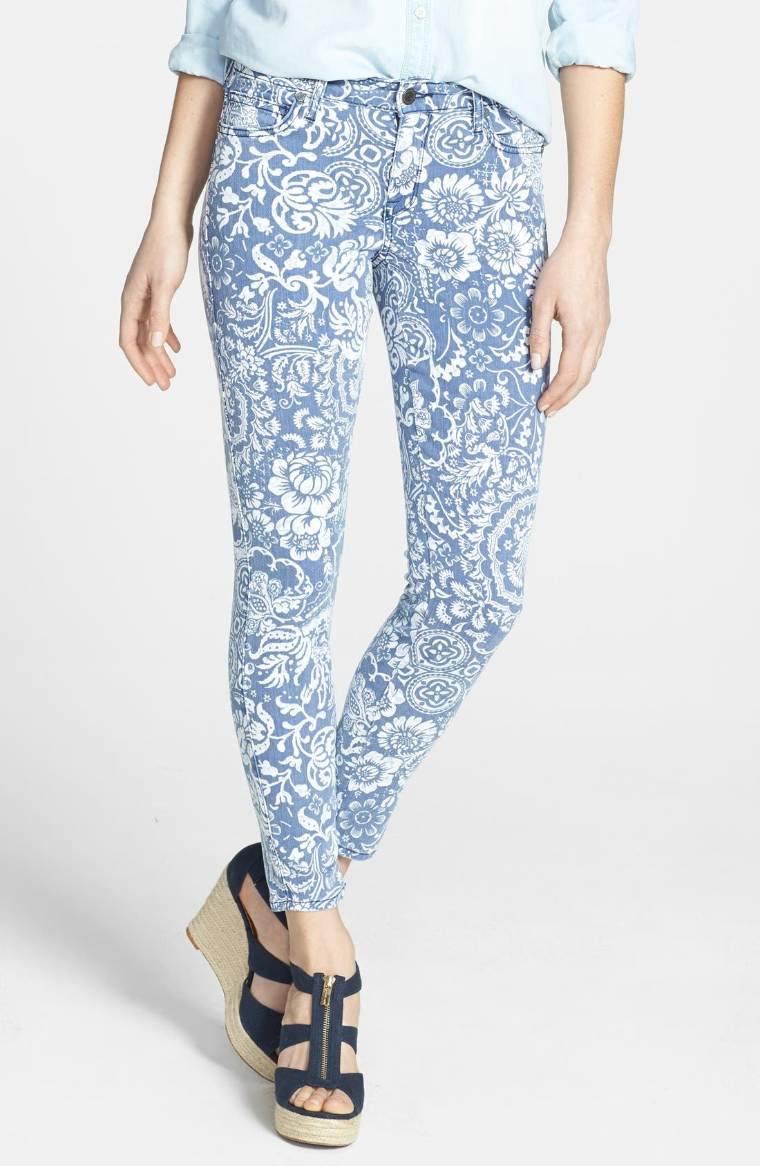 Alternate Image 1 Selected - CJ by Cookie Johnson 'Wisdom' Print Skinny Ankle Jeans (Slate)