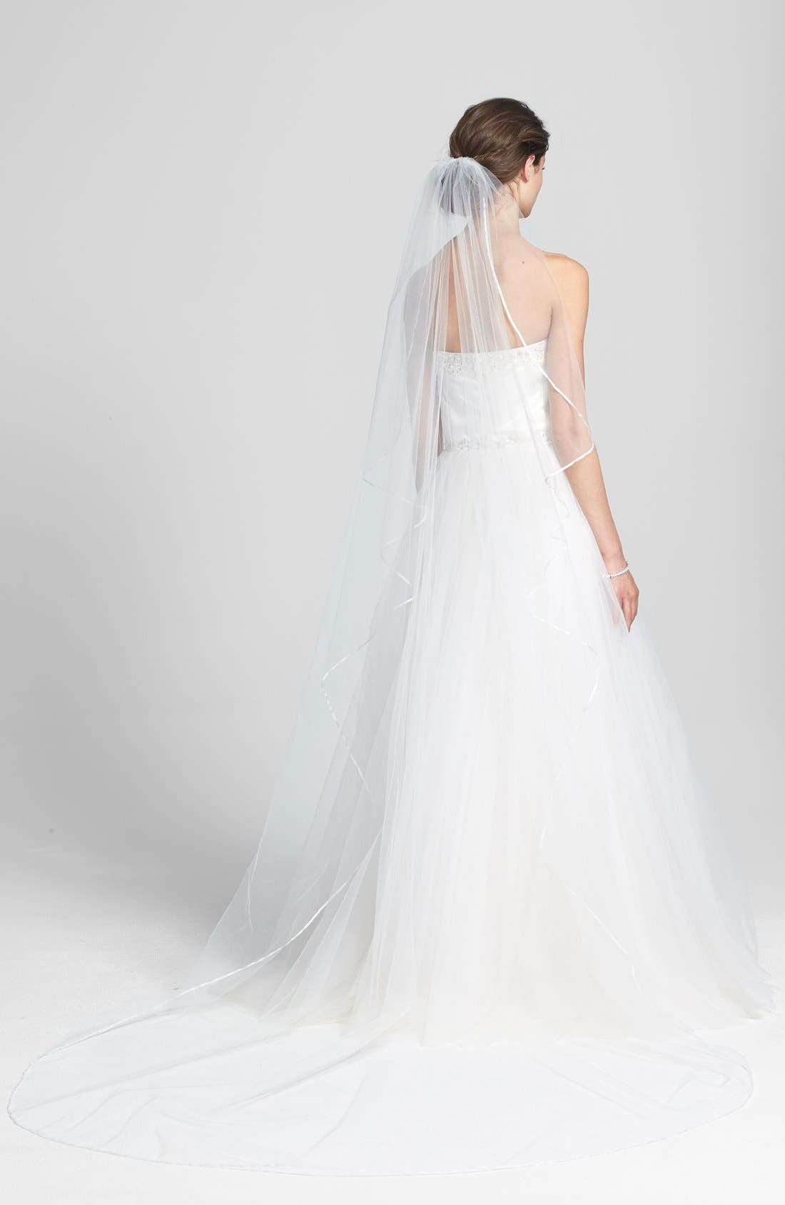 Alternate Image 1 Selected - Wedding Belles New York 'Mable' Satin Trim Cathedral Veil (Nordstrom Exclusive)