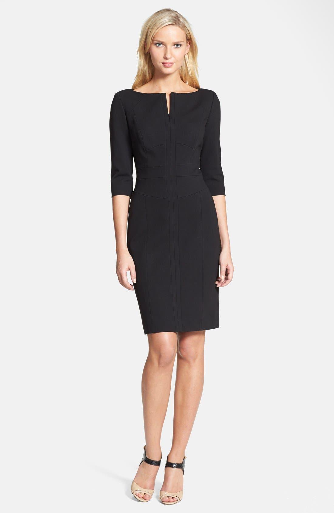 Main Image - Classiques Entier® Three Quarter Sleeve Zip Front Italian Ponte Dress