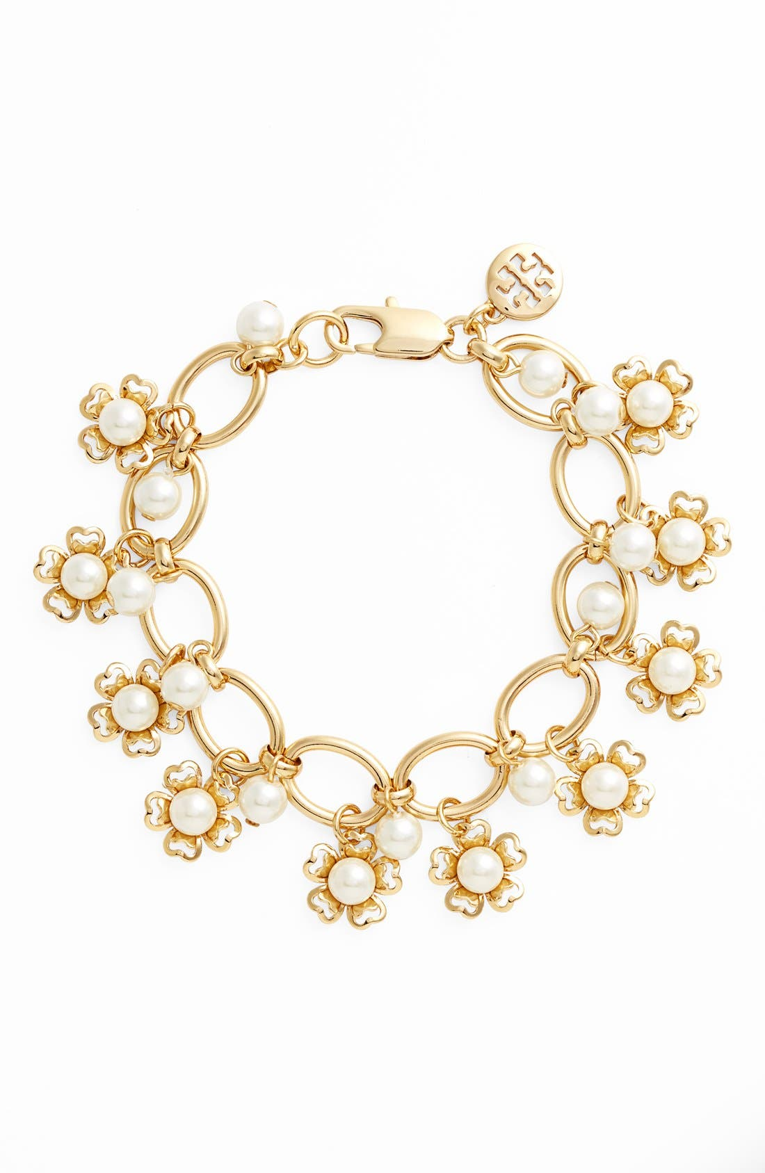 Main Image - Tory Burch 'Katie' Glass Pearl Floral Cluster Bracelet