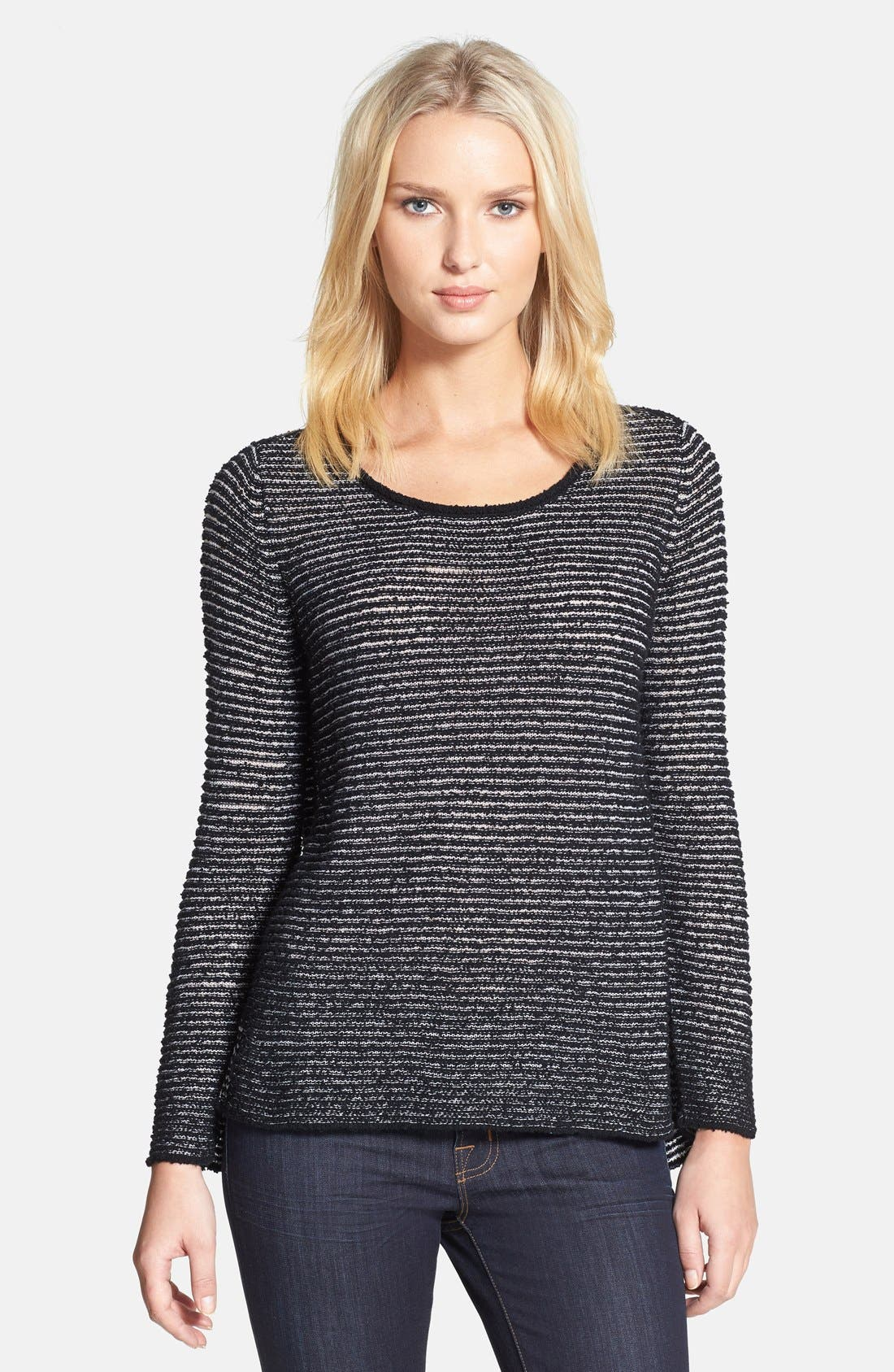 Alternate Image 1 Selected - Eileen Fisher Bateau Neck Organic Cotton Sweater