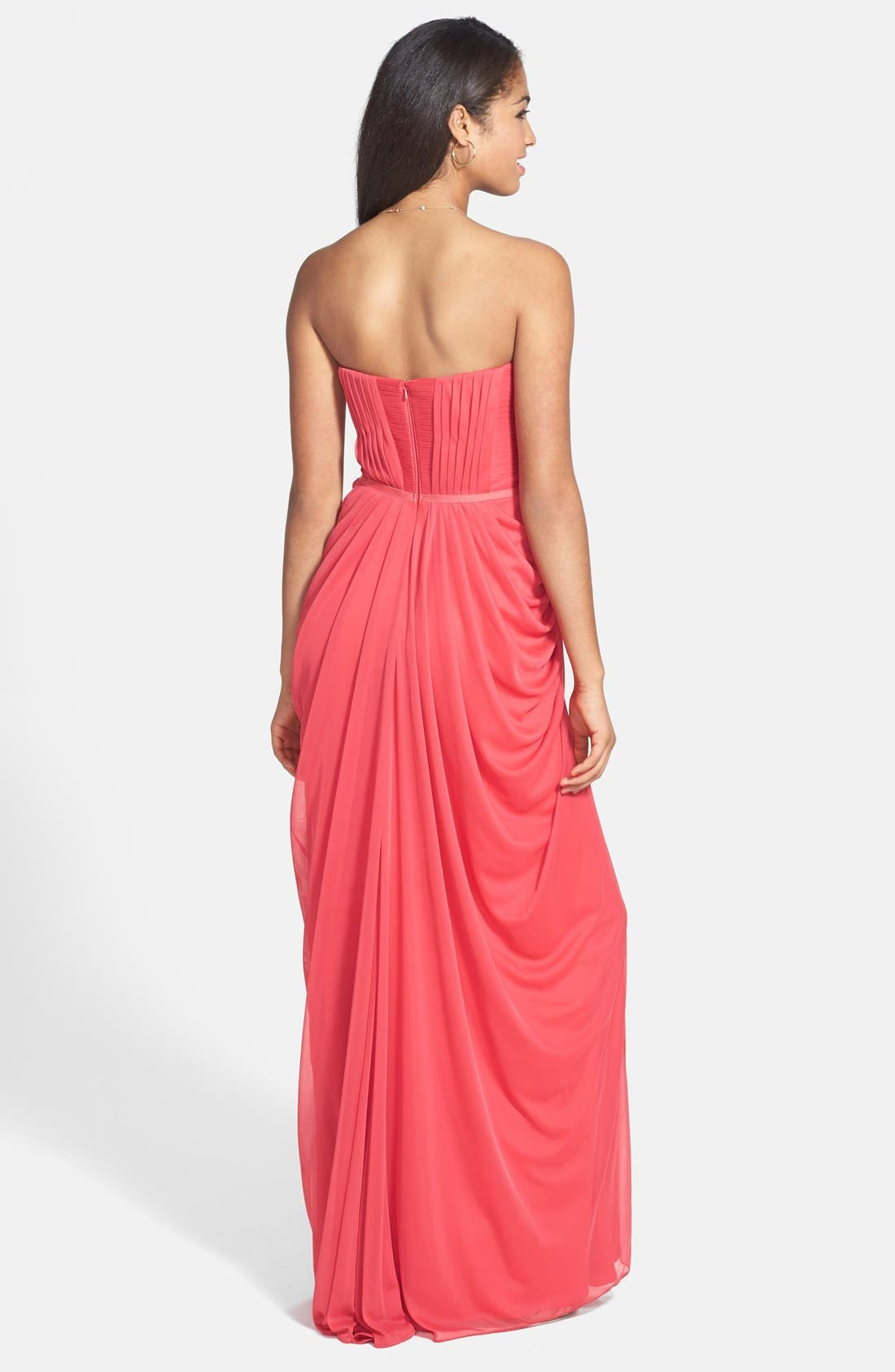 Alternate Image 2  - JS Boutique Pleated & Draped Jersey Chiffon Strapless Gown