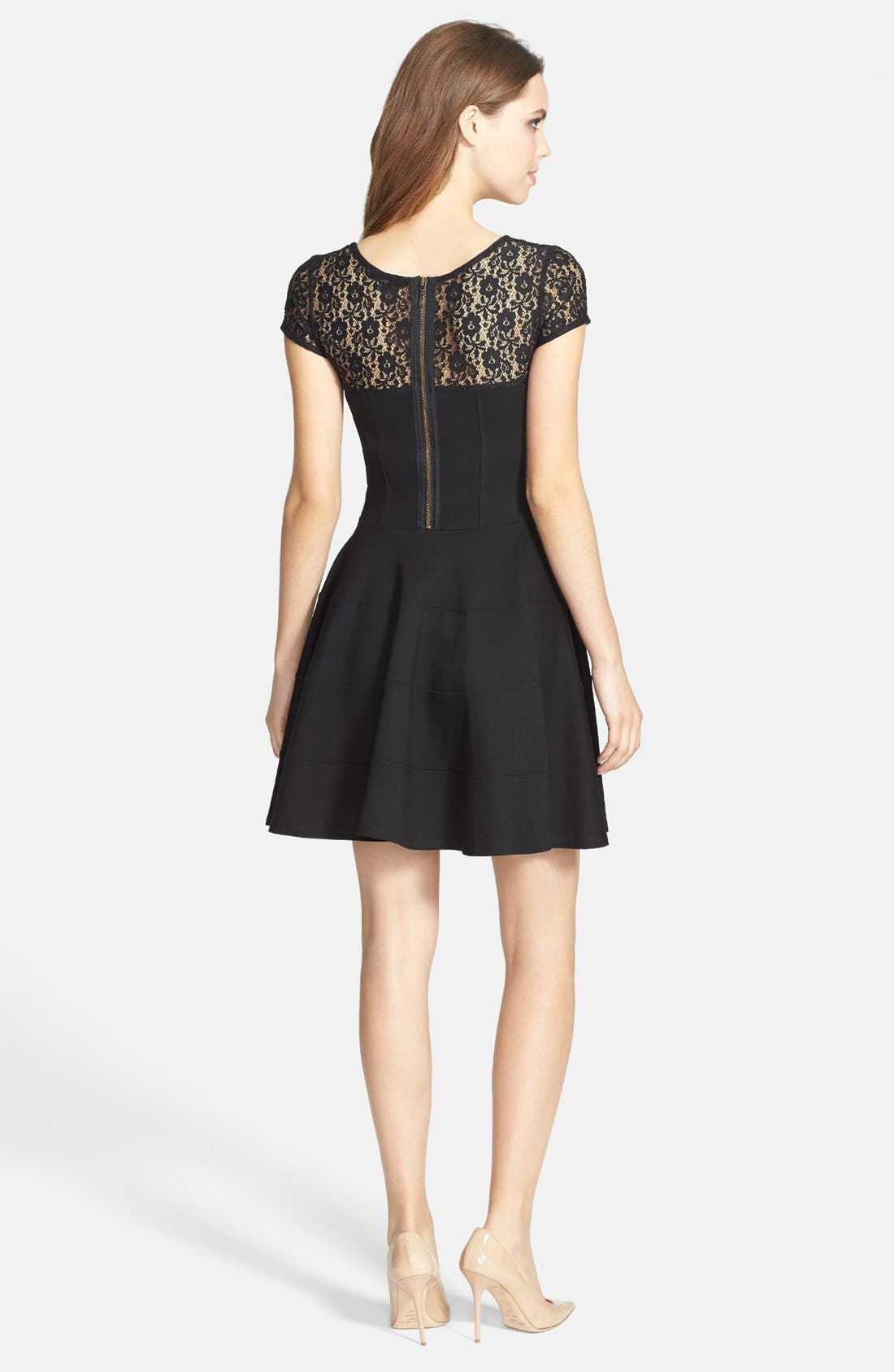 Alternate Image 2  - Felicity & Coco Lace Yoke Fit & Flare Ponte Dress (Petite) (Nordstrom Exclusive)