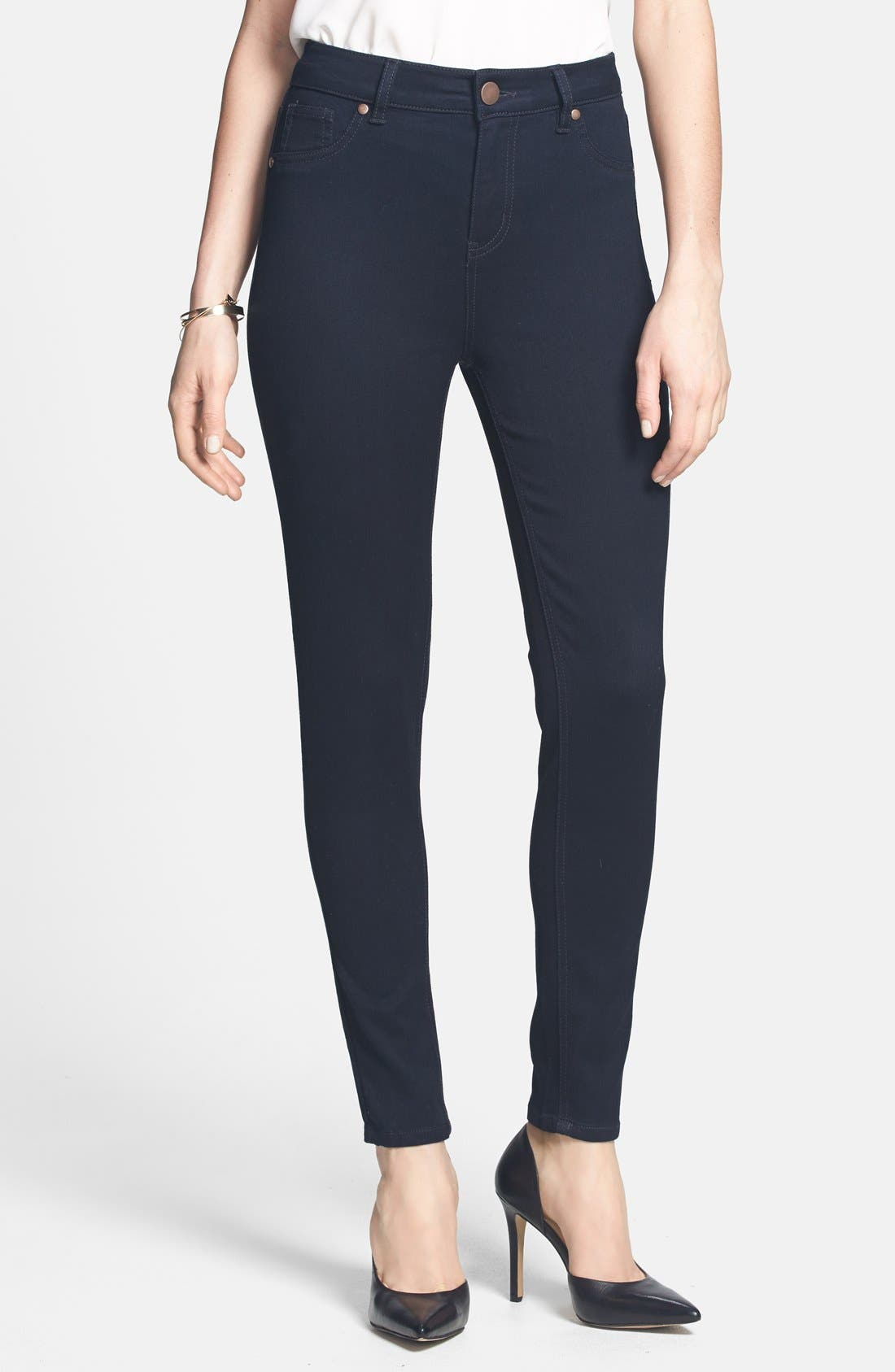 Main Image - Fire 'The 10' High Waist Skinny Jeans (Dark Wash) (Juniors) (Online Only)