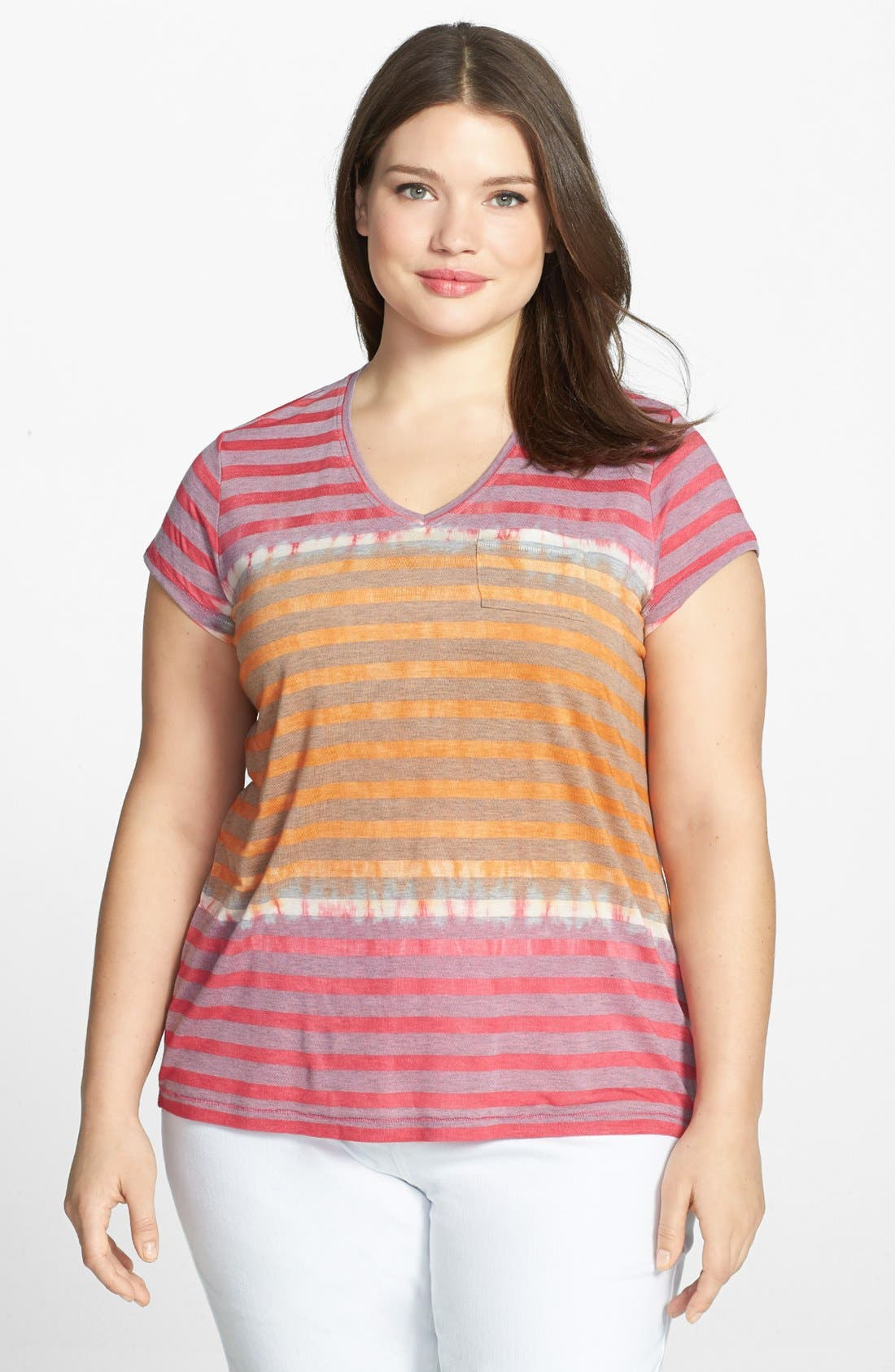 Main Image - Two by Vince Camuto Stripe V-Neck Tee (Plus Size)