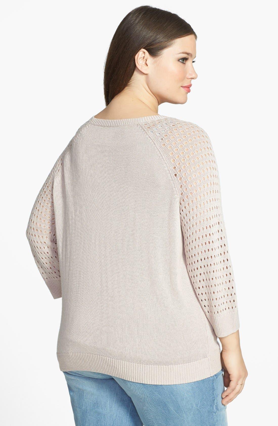 Alternate Image 2  - Halogen® Open Stitch Sleeve Sweater (Plus Size)